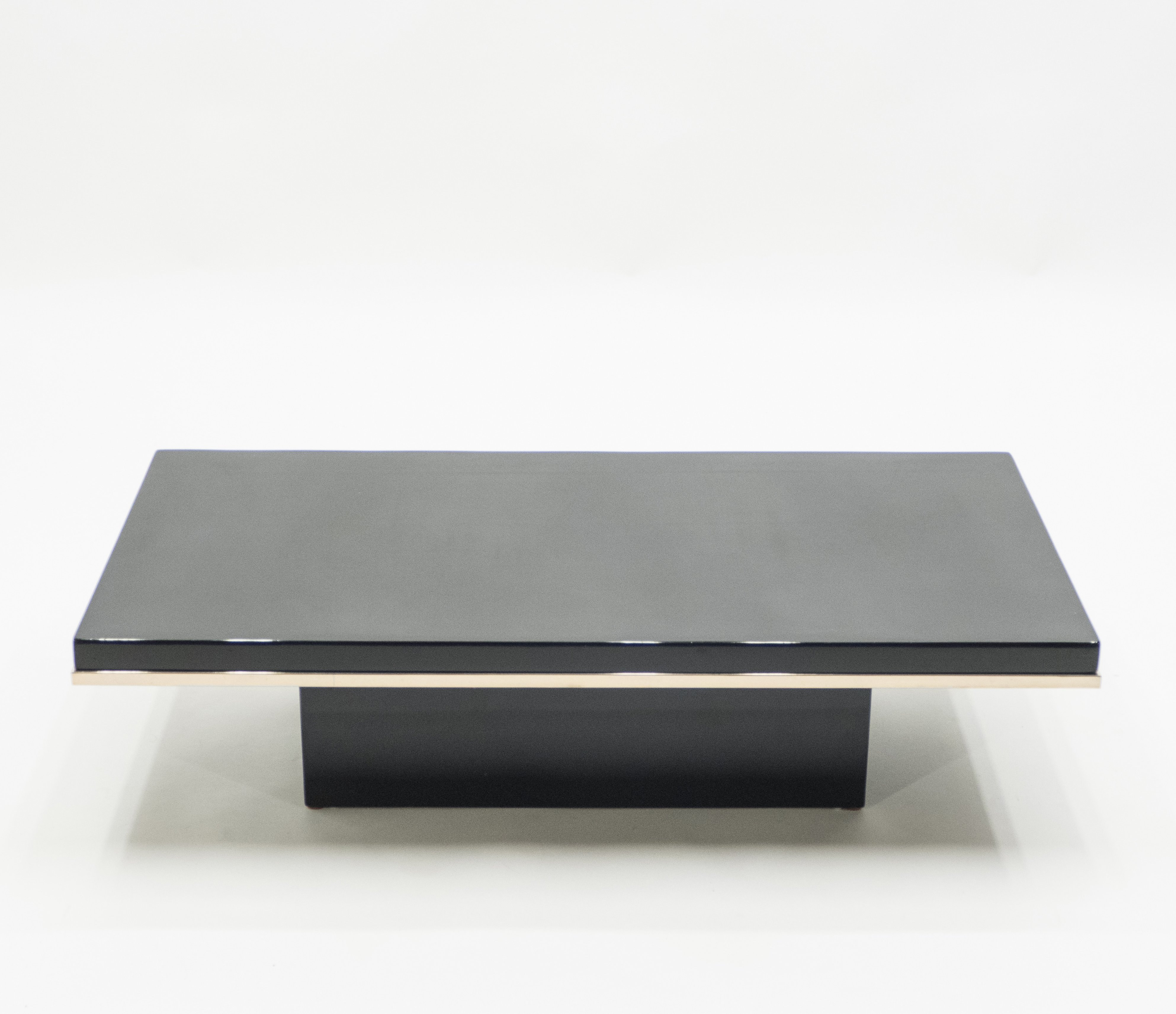 - J.C. Mahey Black Lacquer & Brass Coffee Table, 1970s #129352