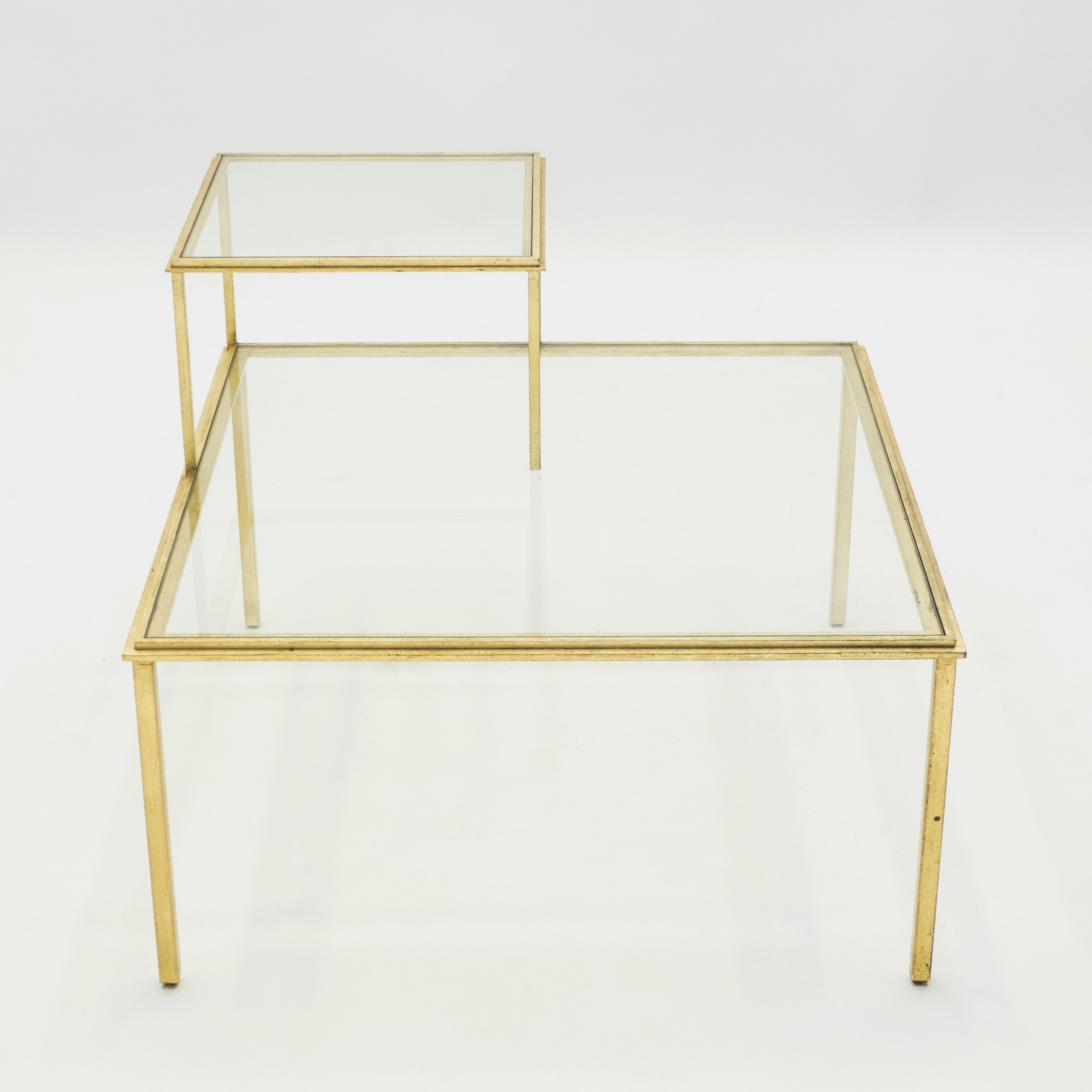 - Roger Thibier Gilt Wrought Iron & Glass Coffee End Table, 1960s