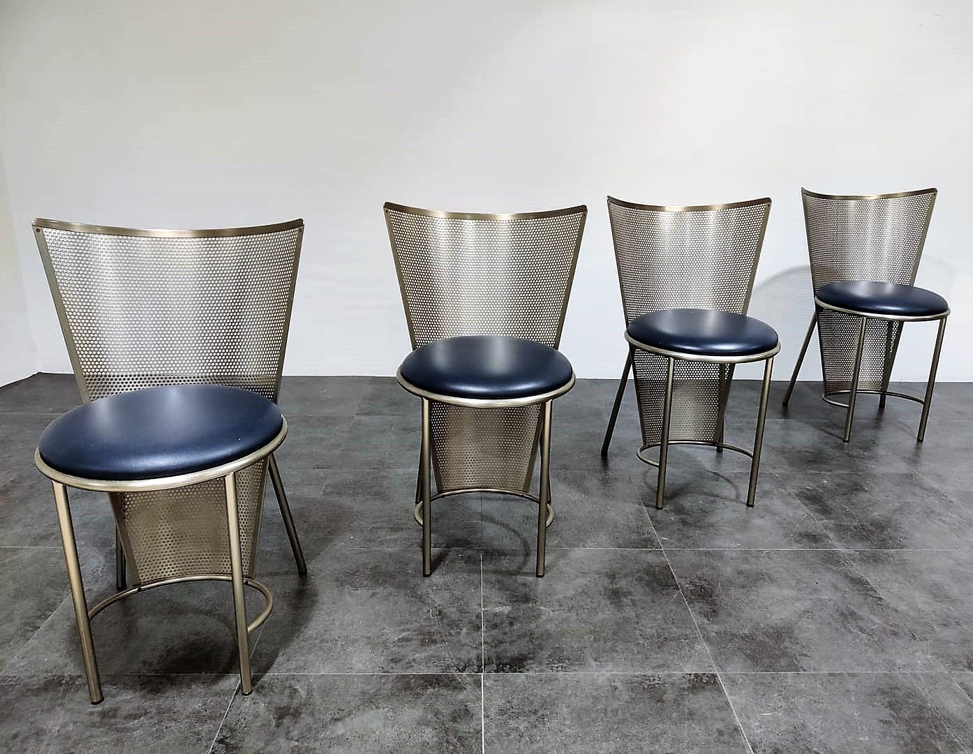 Image of: Set Of 4 Vintage Dining Chairs By Frans Van Praet For Belgo Chrom 1990s 87756