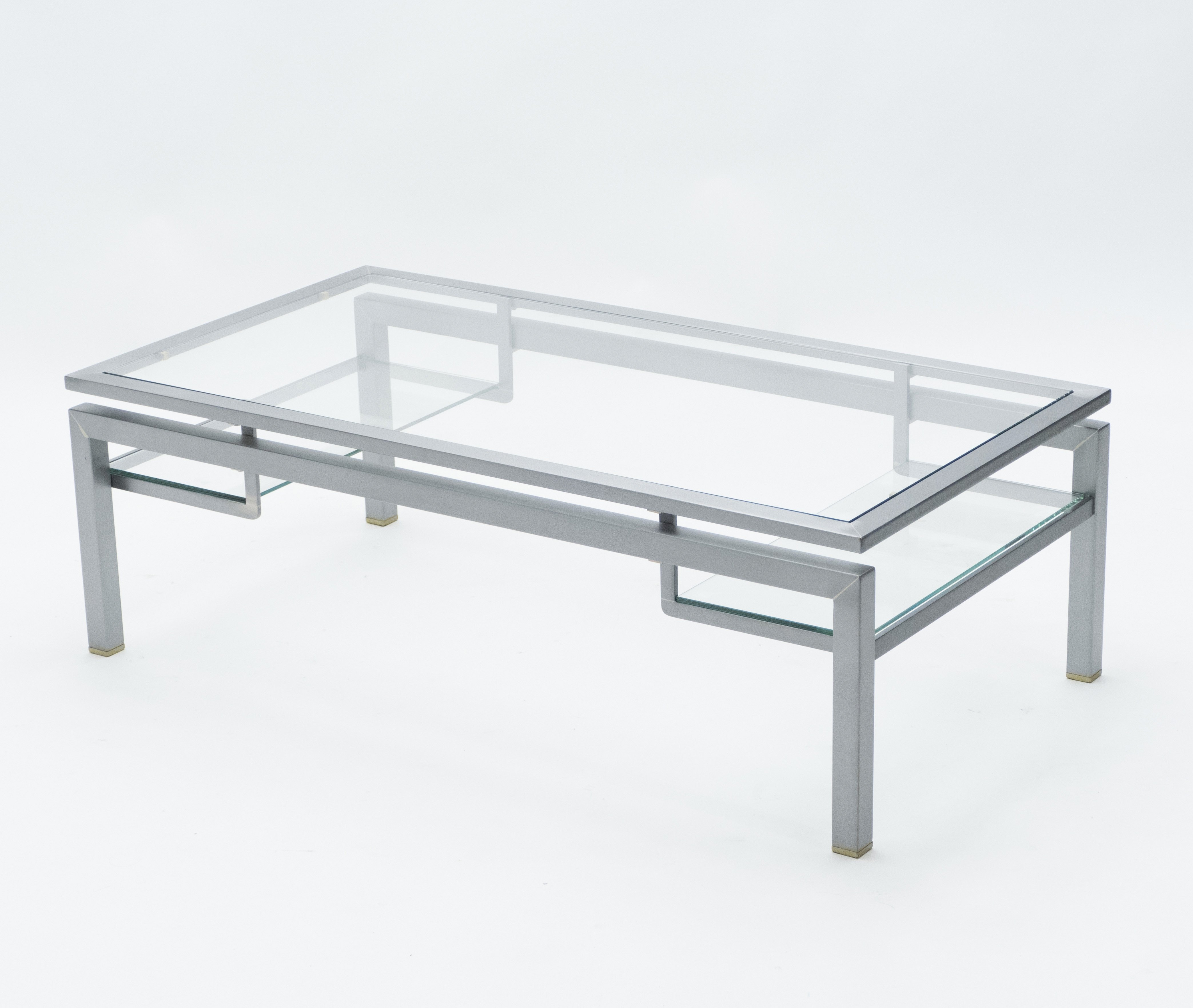Mid Century Brushed Steel Brass Coffee Table By Guy Lefevre For Maison Jansen 1970s 130059