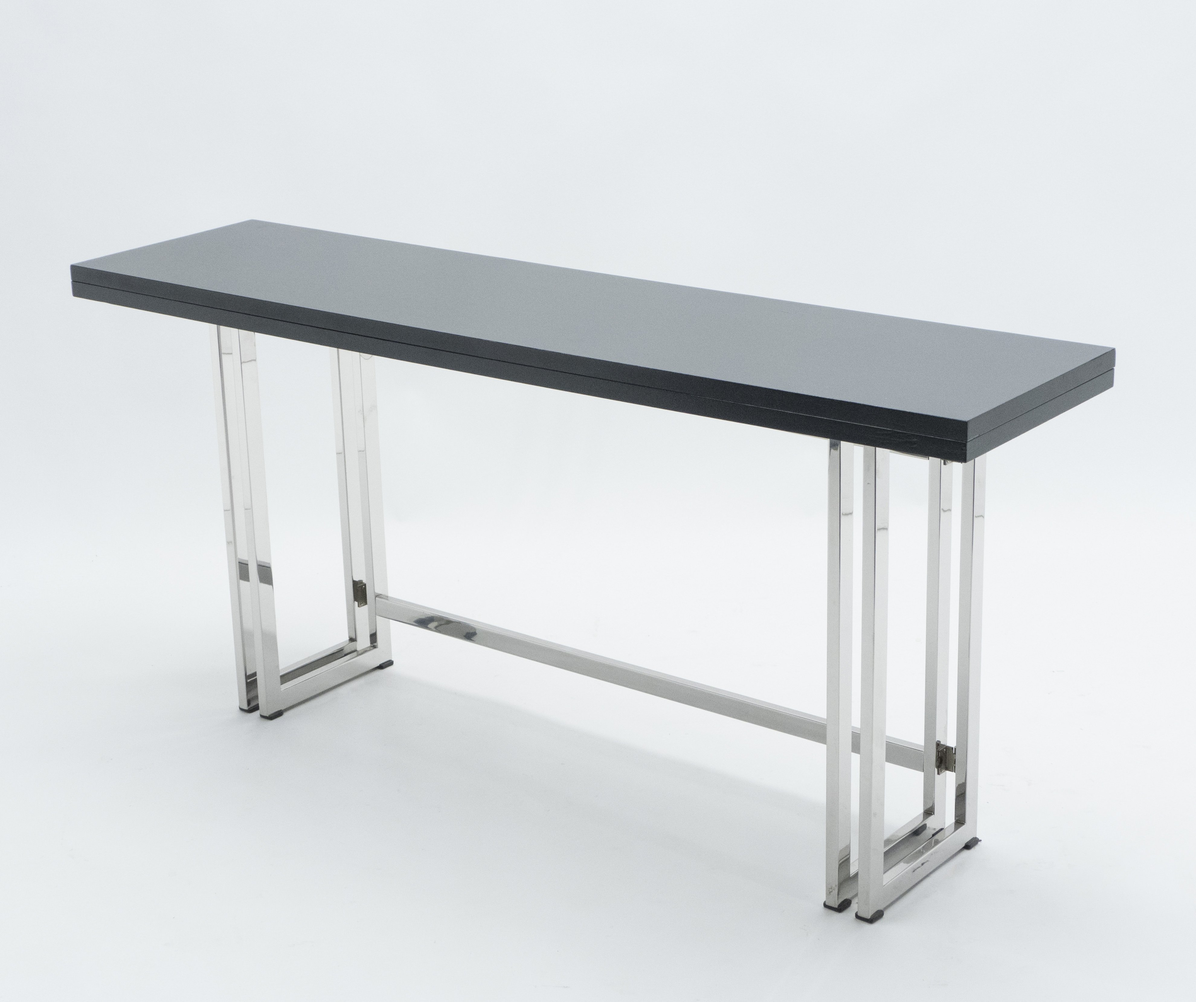 Picture of: Italian Mid Century Black Lacquer Chrome Extending Console Table 1970s 130060