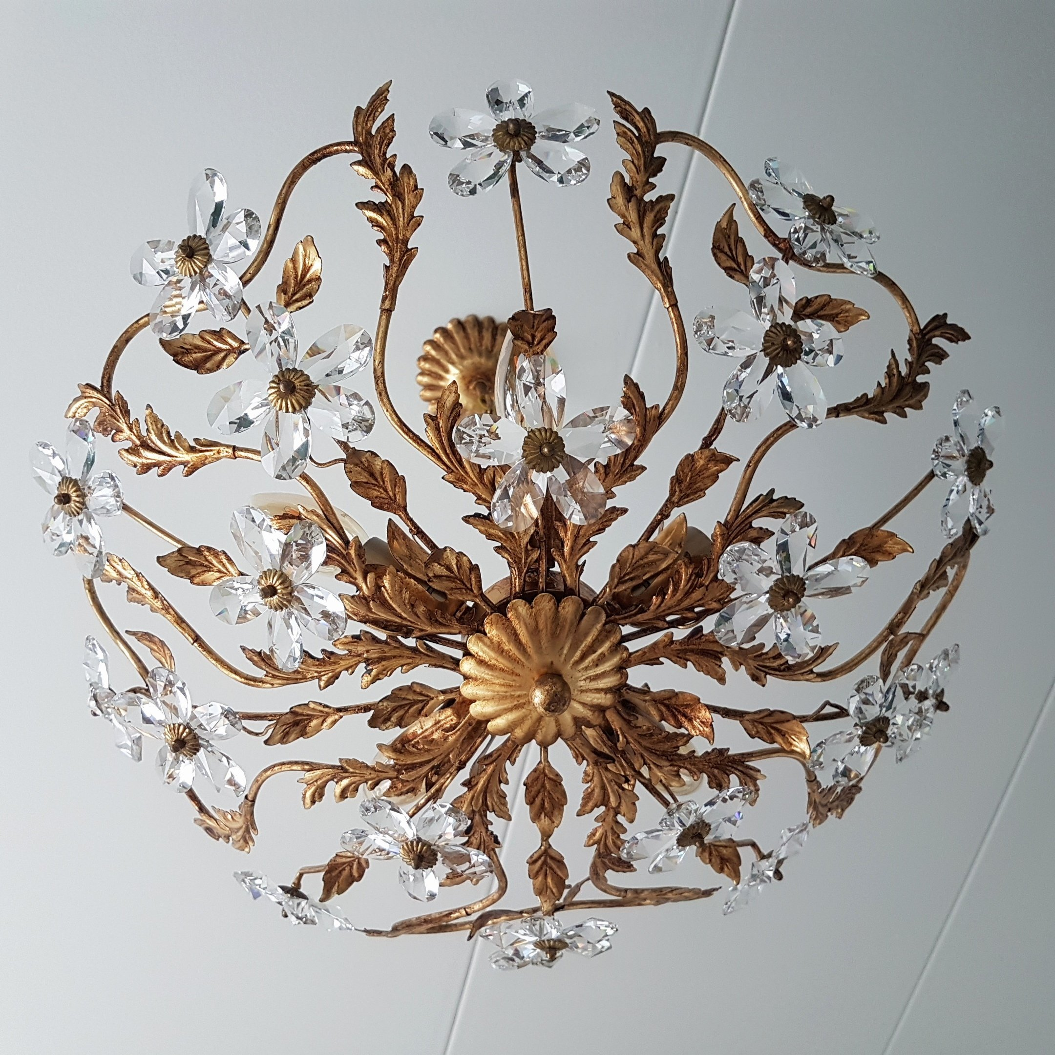 Gold Colored Chandelier With Crystal Flowers 1970s 130311
