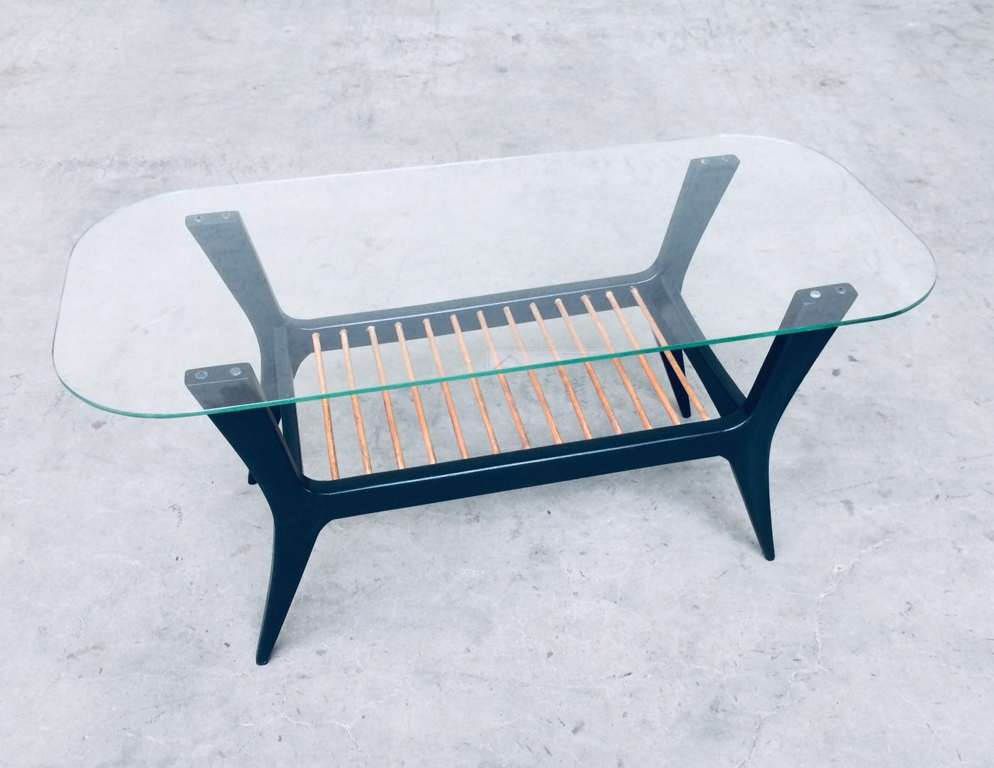 Picture of: Midcentury Modern Design Black Wood With Glass Top Coffee Table Belgium 1950 S 130634