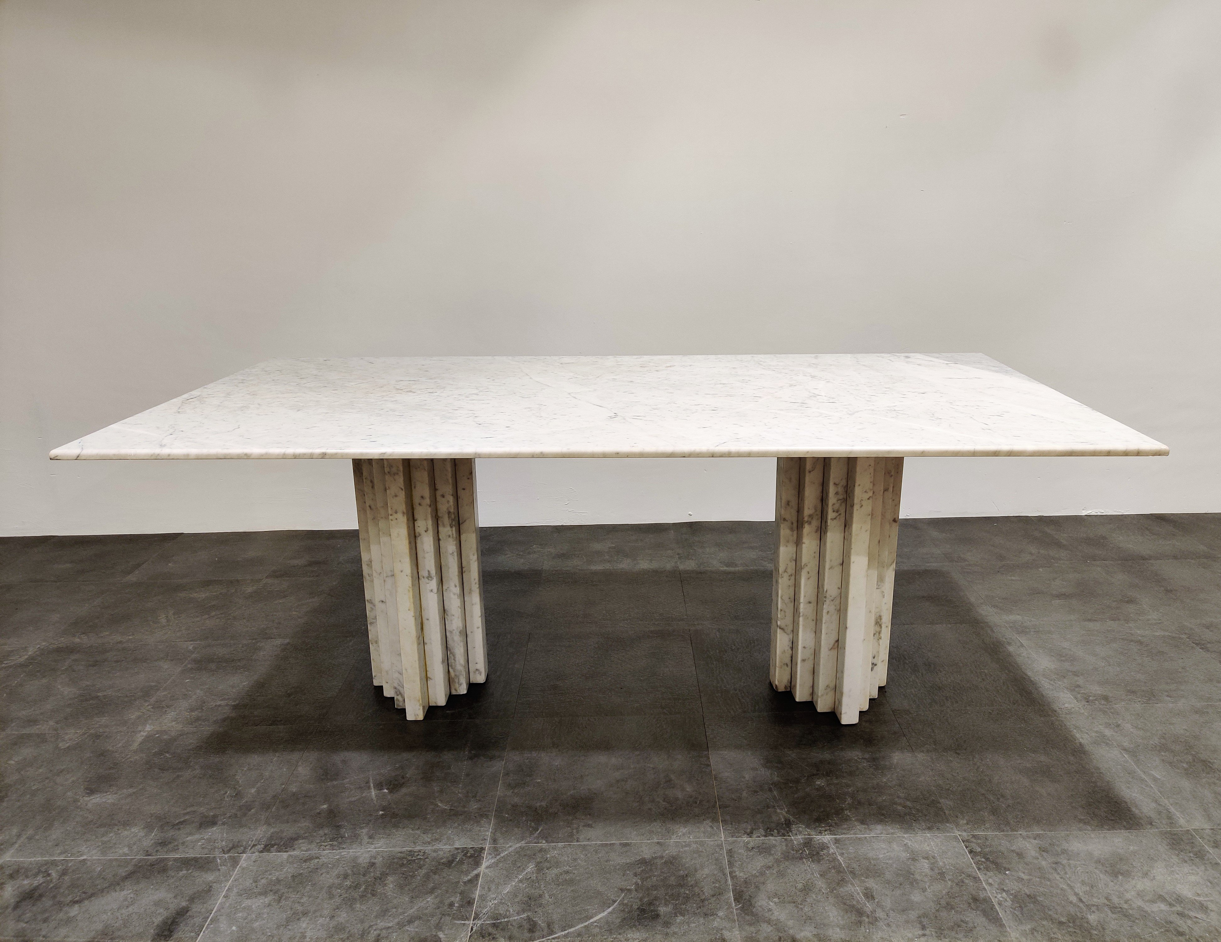 White Marble Dining Table 1970s 130837