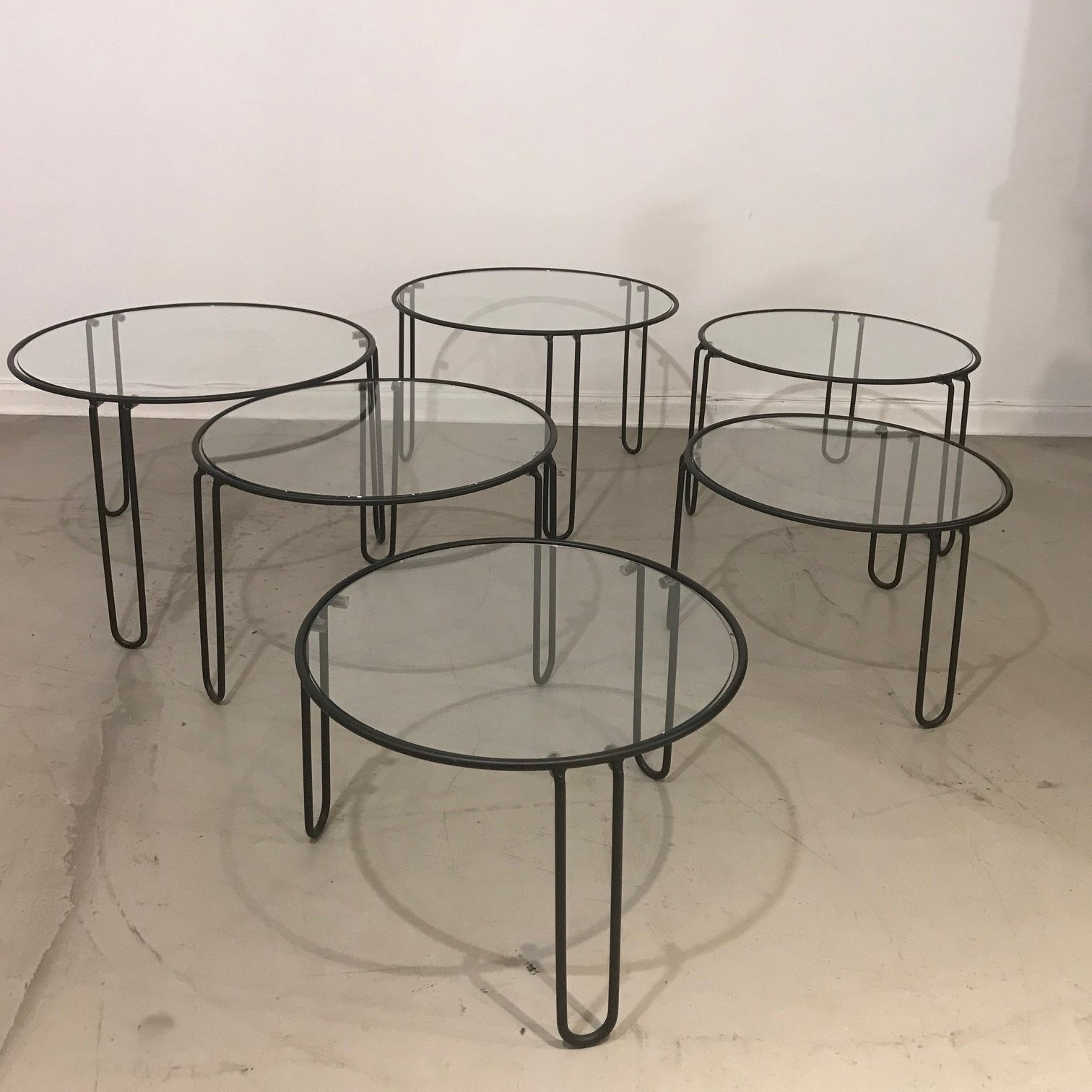 - Set Of 6 Round Glass Coffee Tables (3 Sizes) With Black Metal