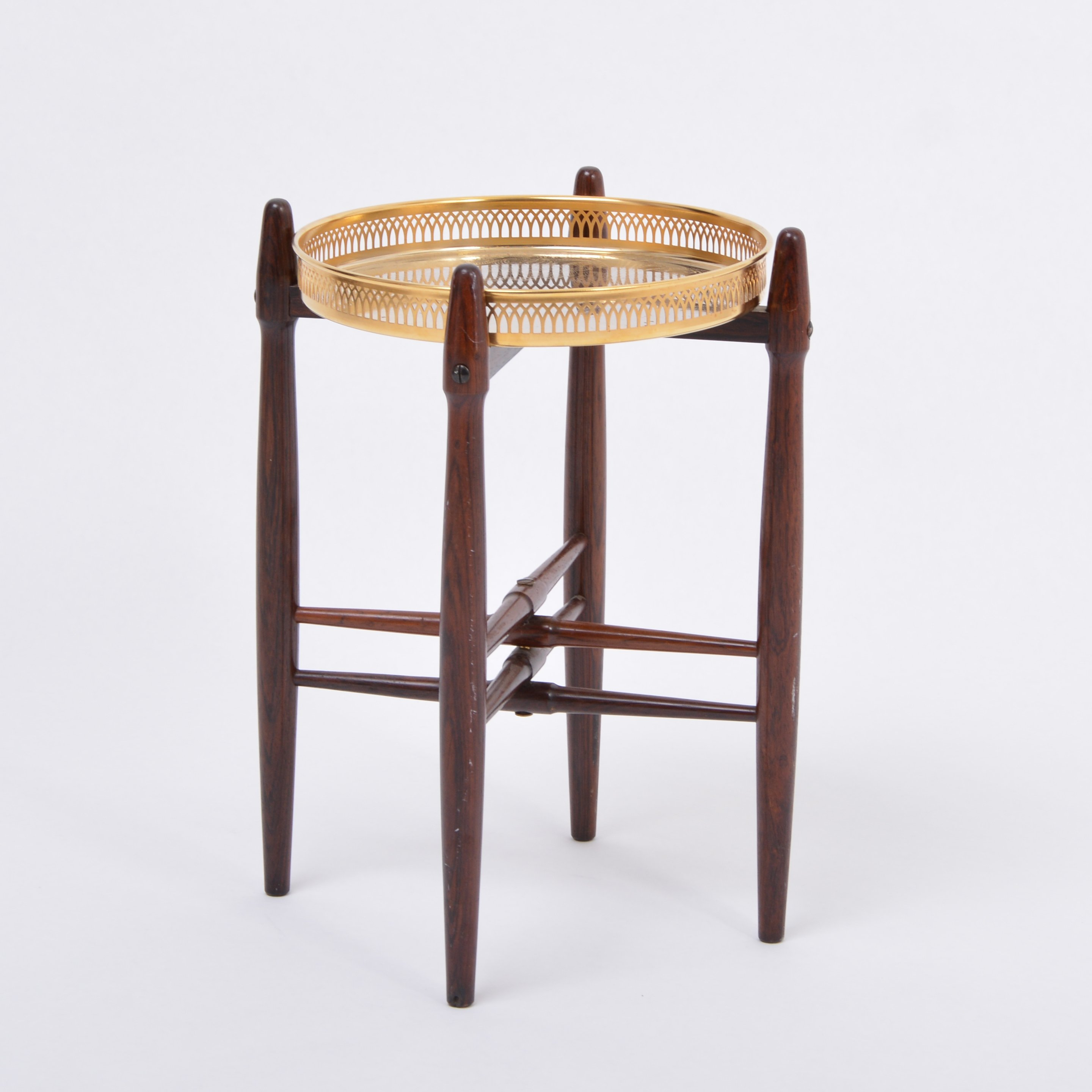Mid Century Modern Rosewood Side Table With Brass Tray By Poul Hundevad Denmark 1960s 131542