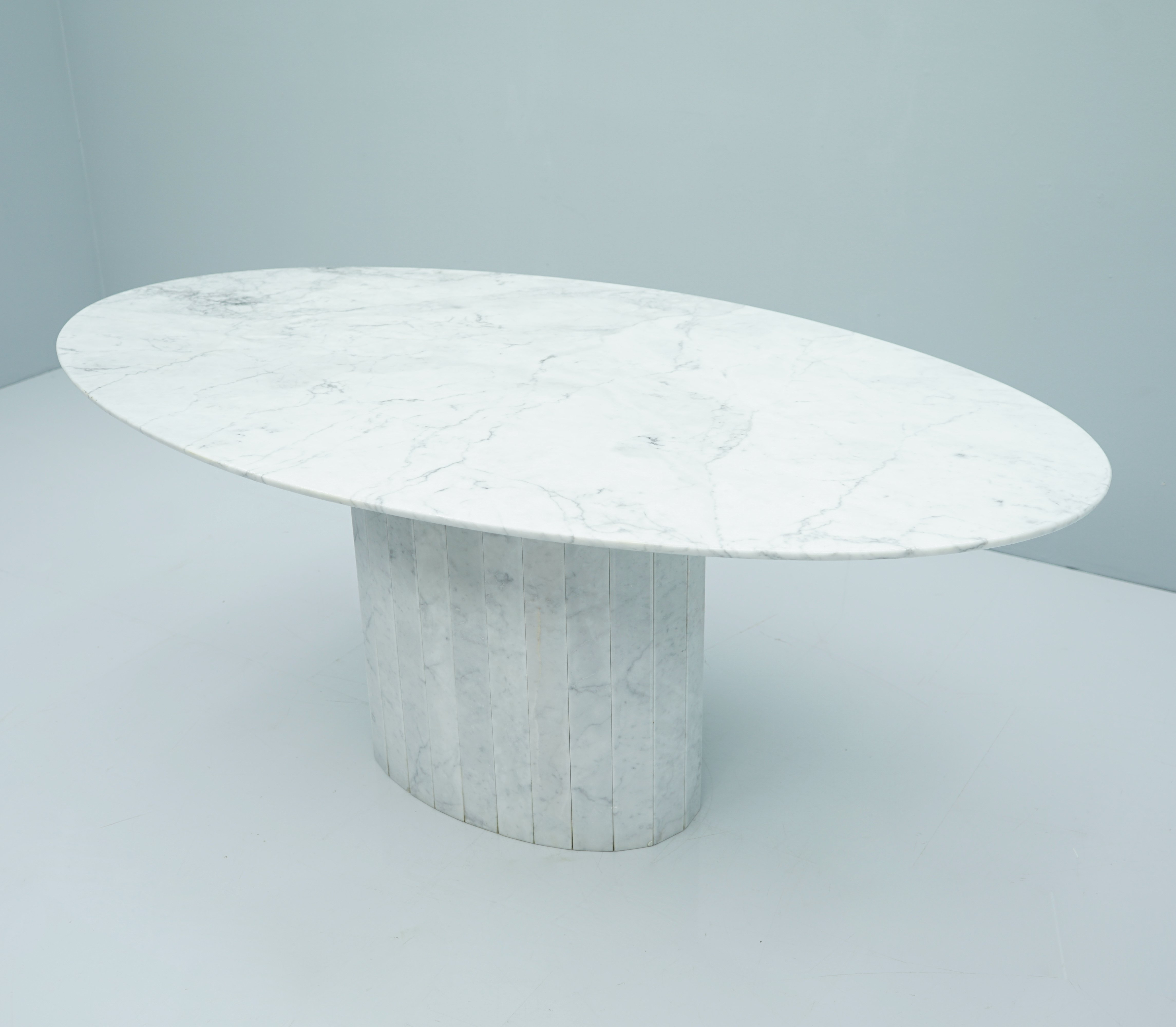 White Oval Carrara Marble Dining Table 1970s 133496