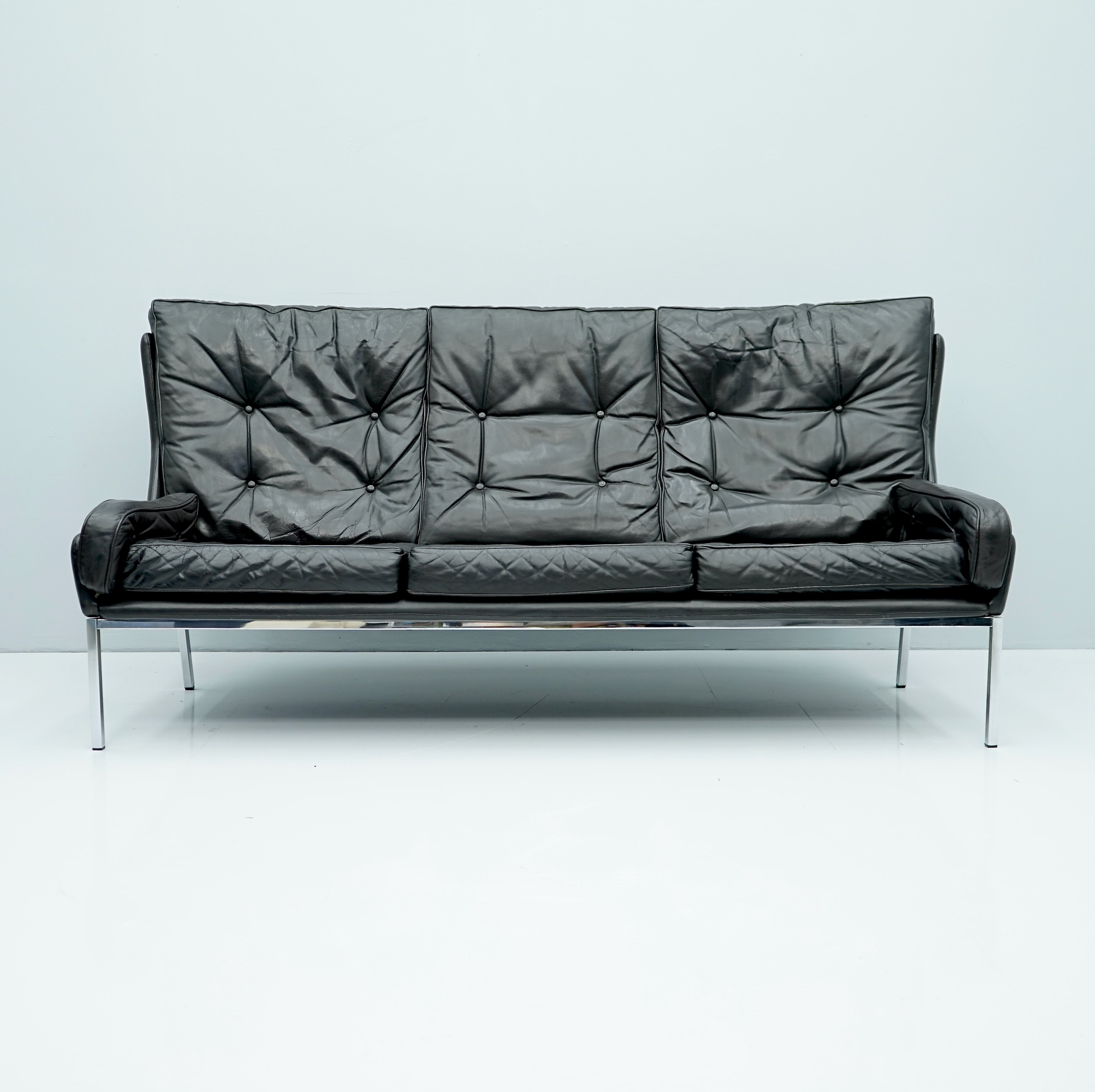 Picture of: Rare Black Leather Sofa By Roland Rainer 1960s 134969