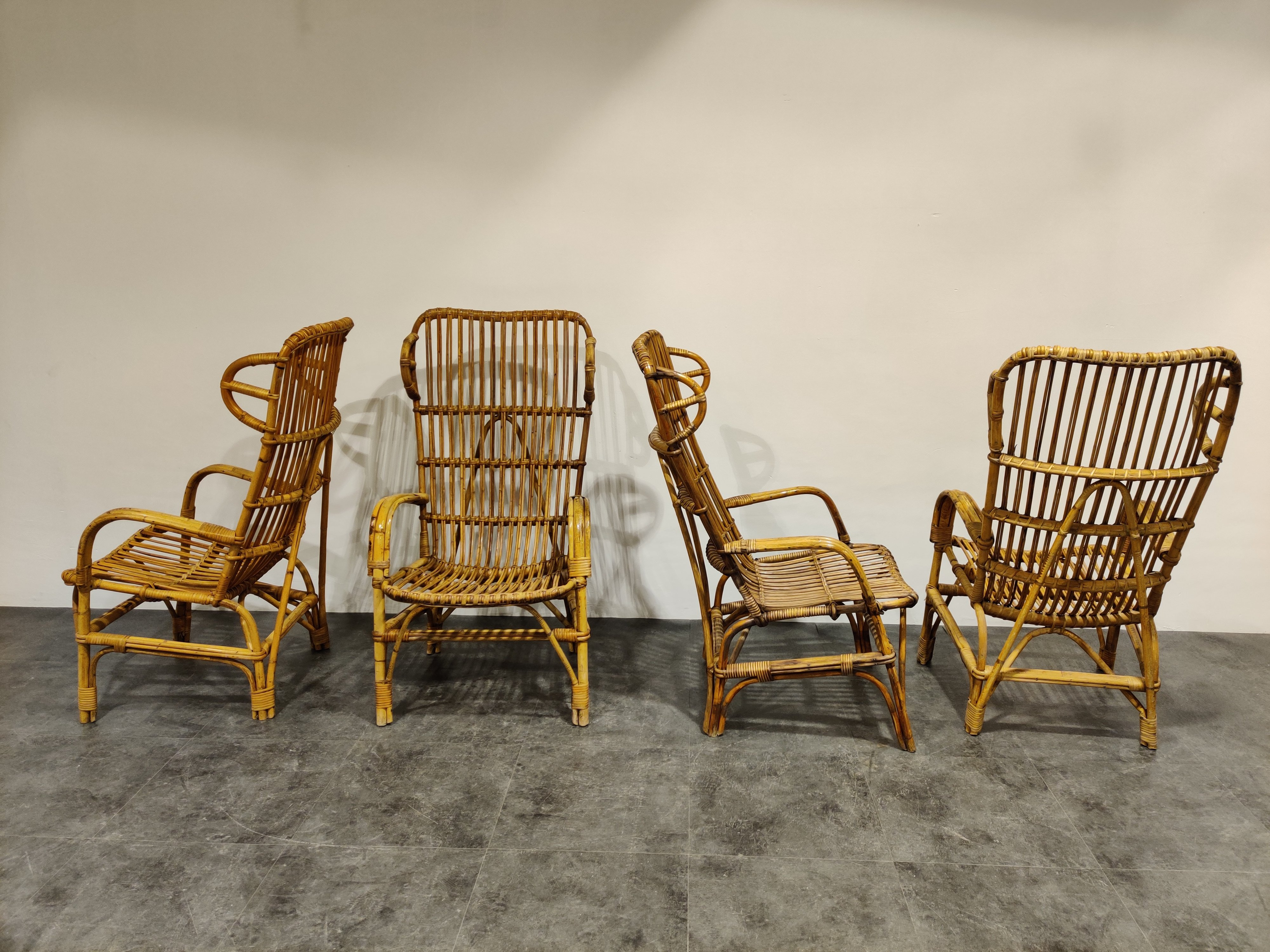 Vintage Rattan High Back Lounge Chairs 1960s 136446