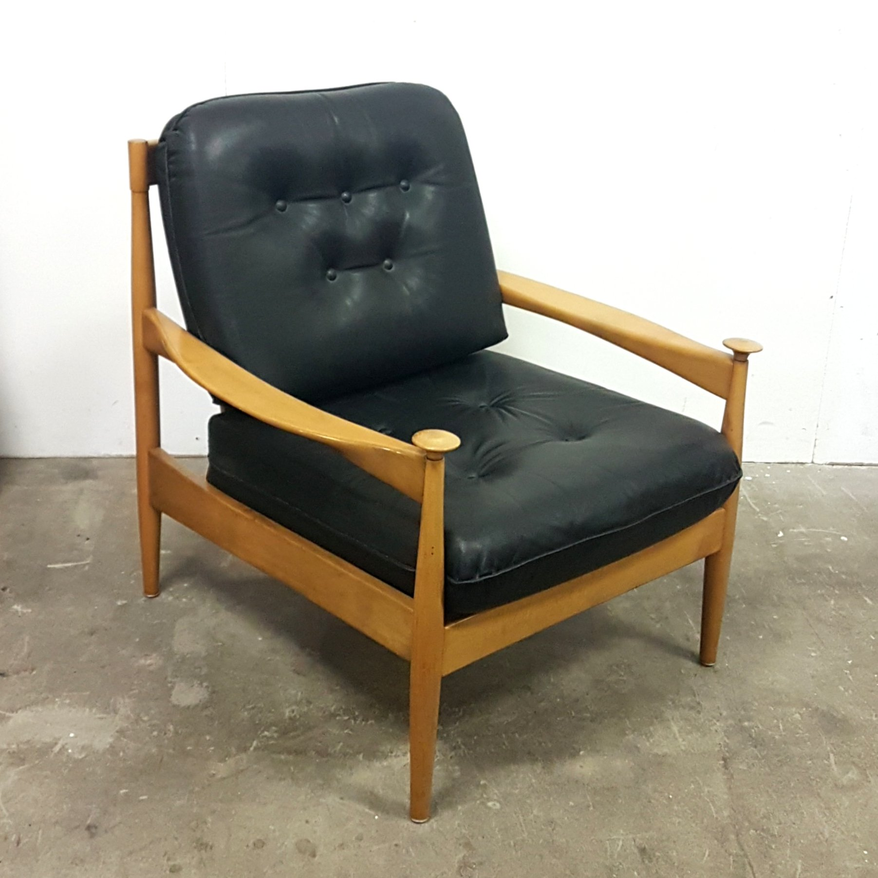 Picture of: Mid Century Wood Leather Armchair Denmark 1960s 136452