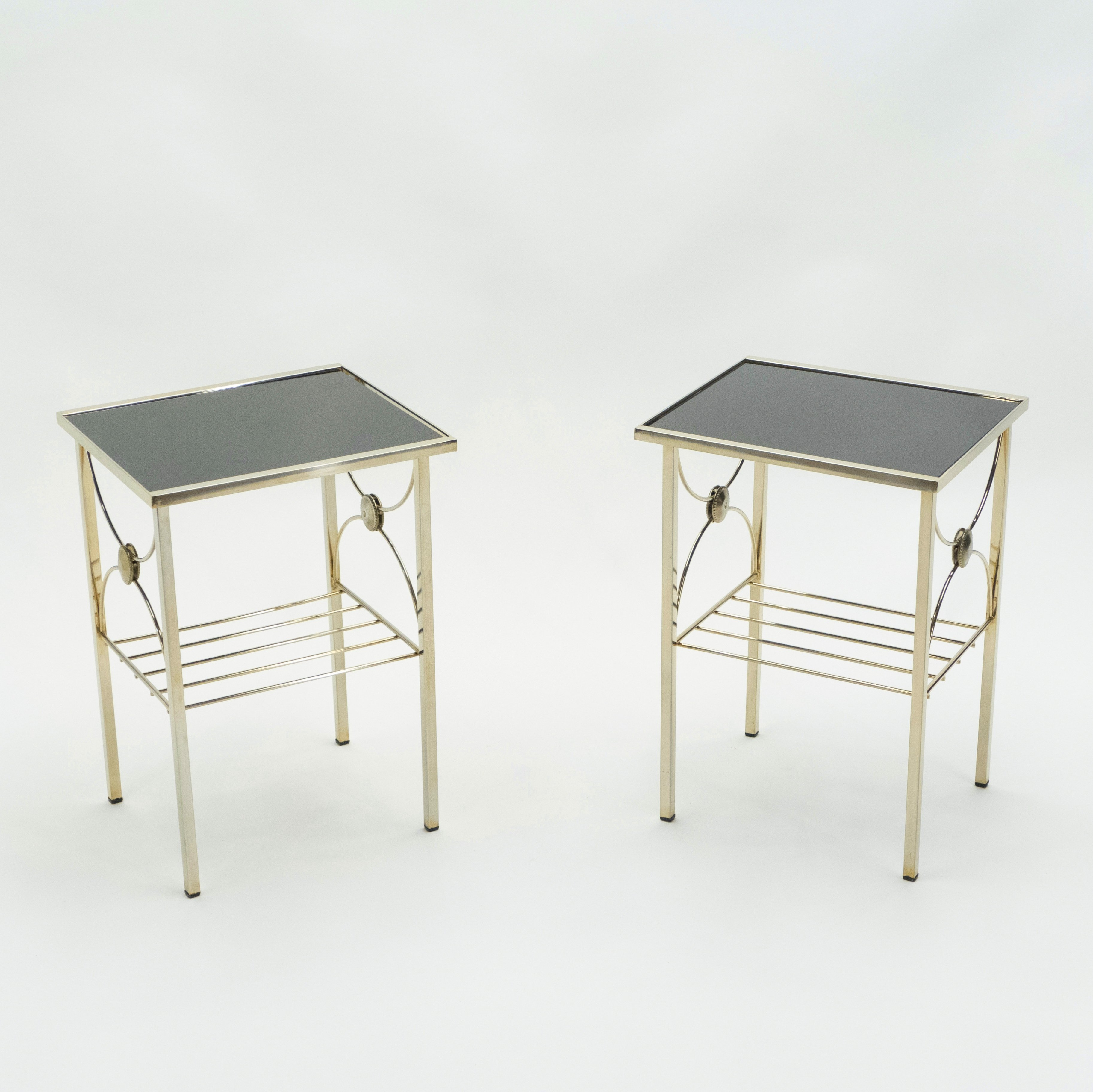 Picture of: French Gilded Metal Black Opaline Glass End Tables 1960s 136566