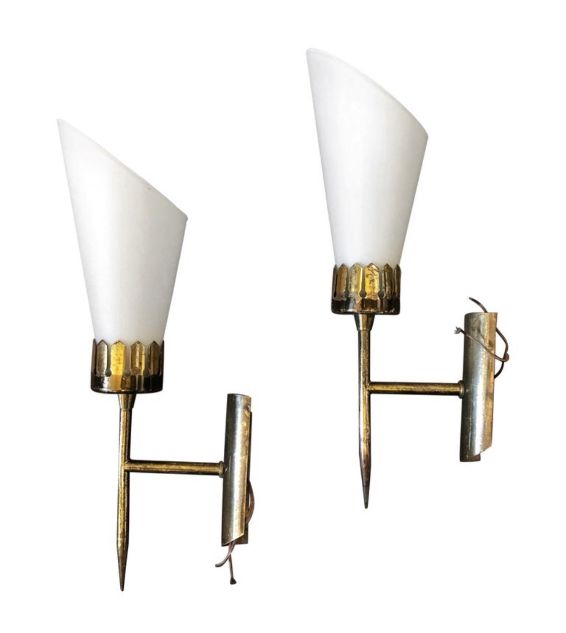 Image of: Set Of Two Mid Century Modern Brass Glass Italian Wall Sconces Circa 1950 136809