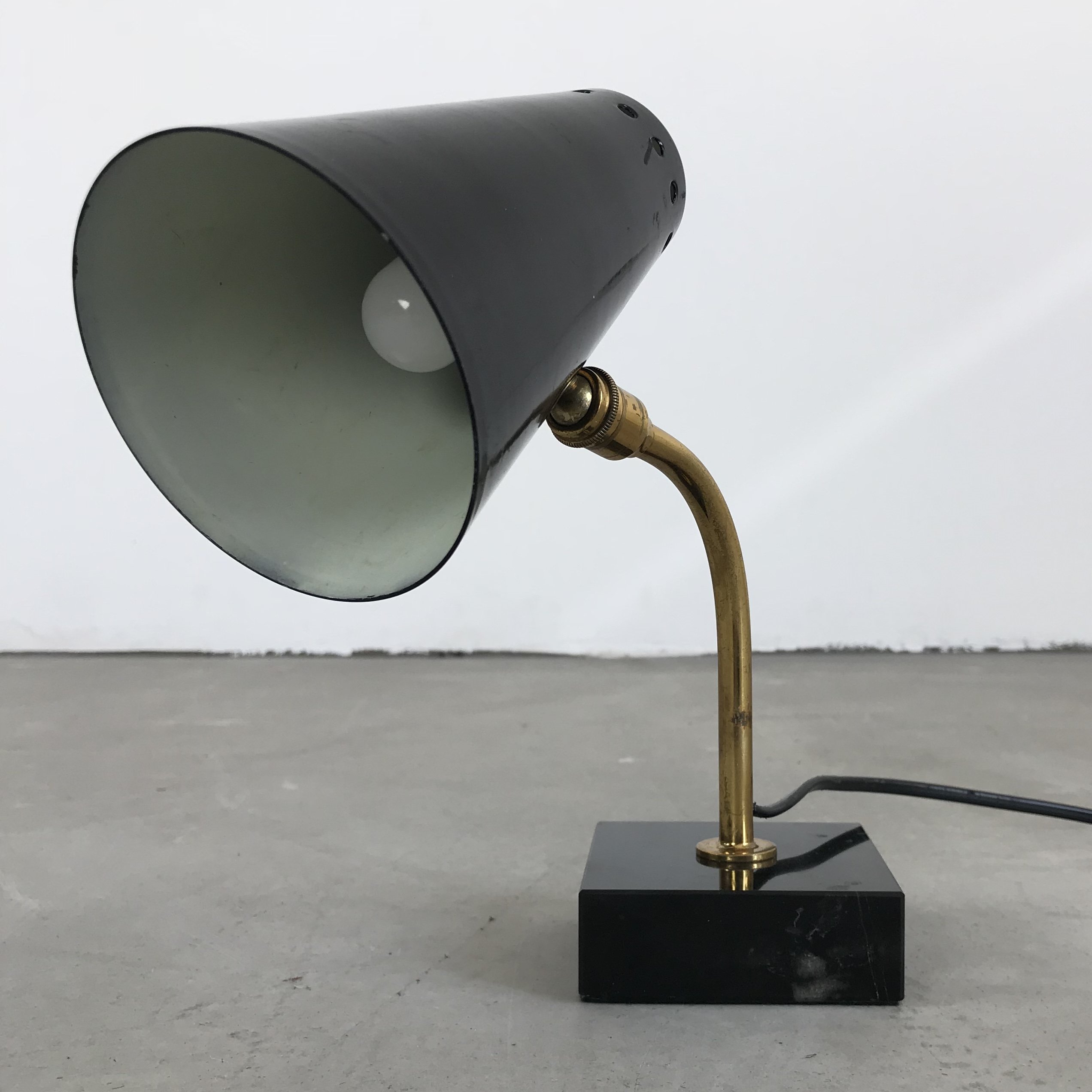 Vintage Table Lamp In Brass Marble France 1950s 100298