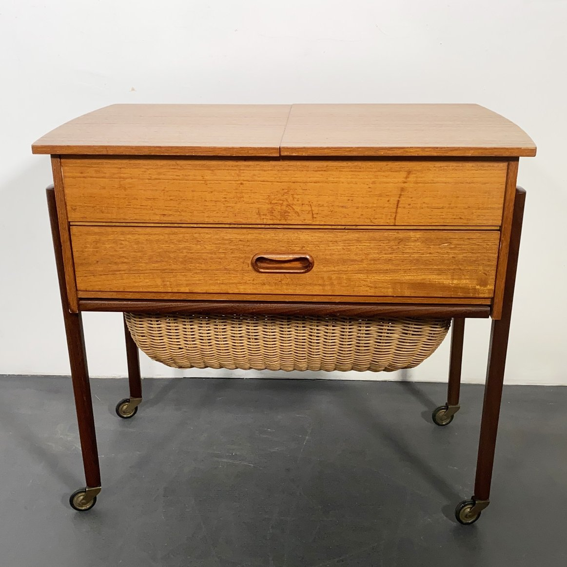 mid century teak sewing table with basket denmark 1950s