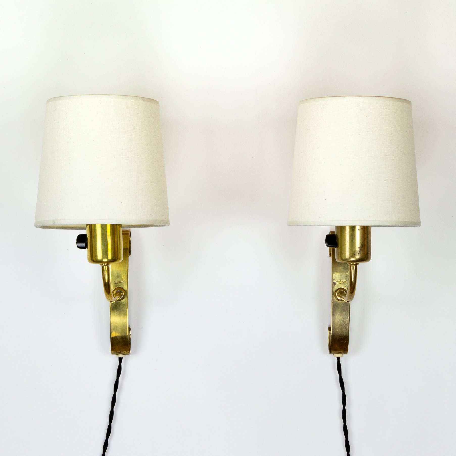 Pair Of Brass Wall Sconces By Maria Lindemann For Idman Finland 1950s 137224