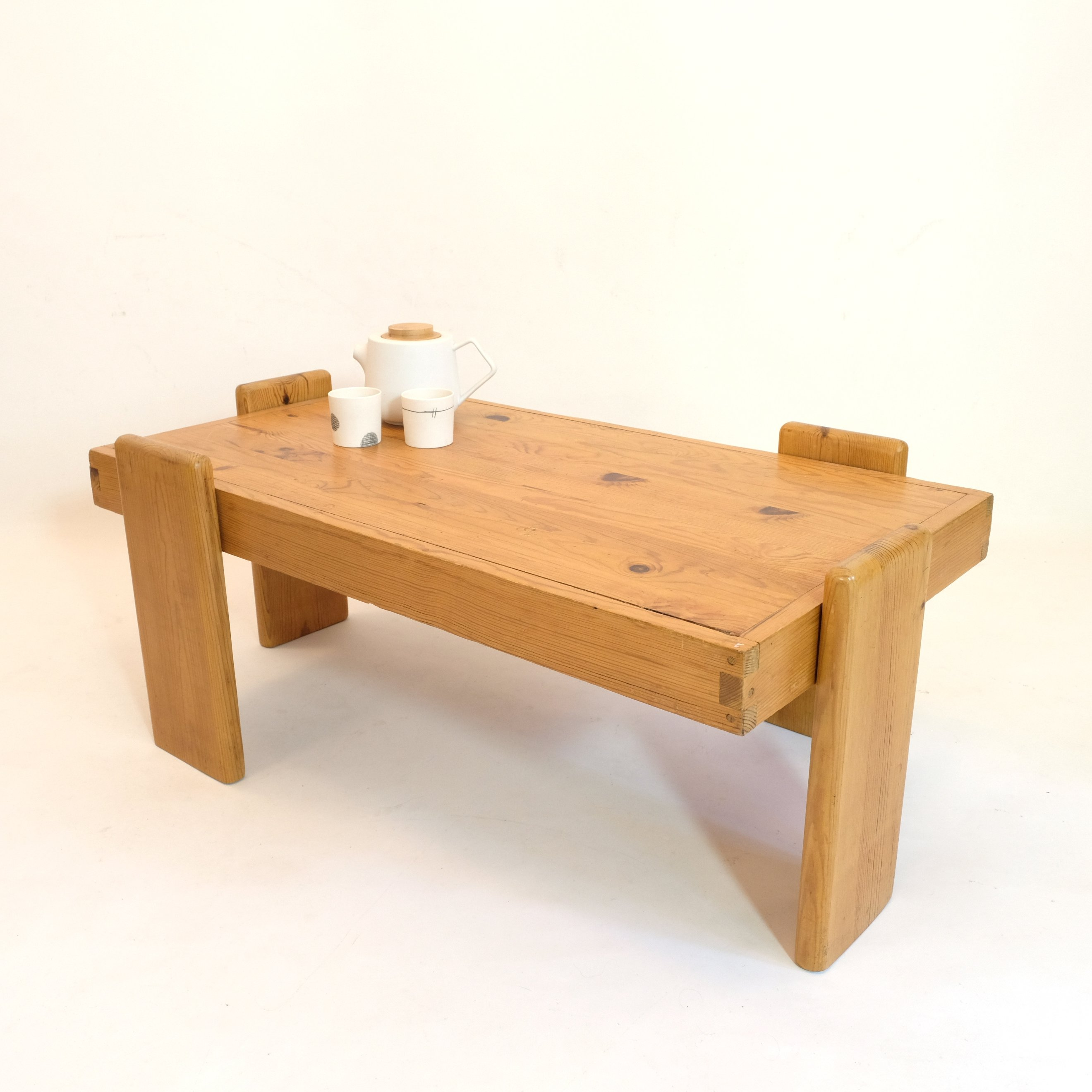 Solid Pine Wood Coffee Table 1970s 137689