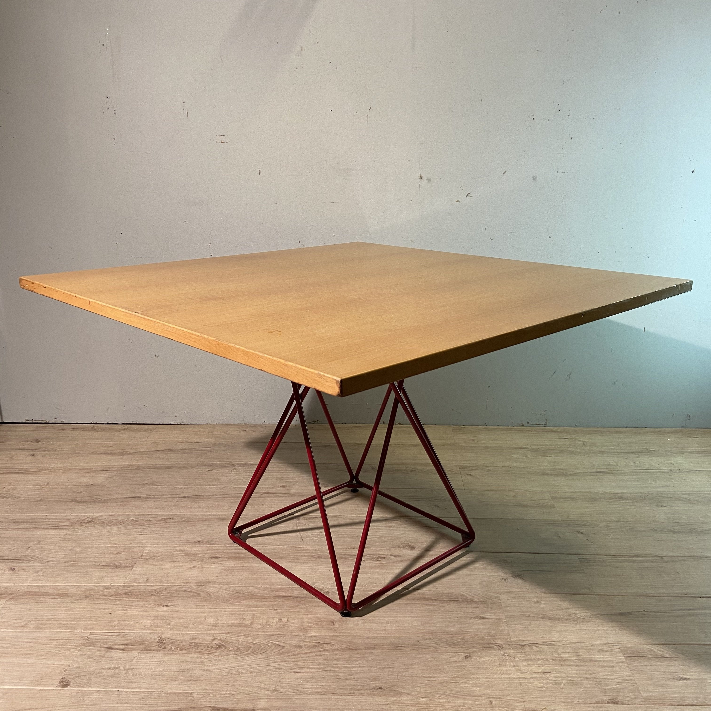 Original Red Metal Eiffel Base Square Dining Table By Thonet 1970s 137774