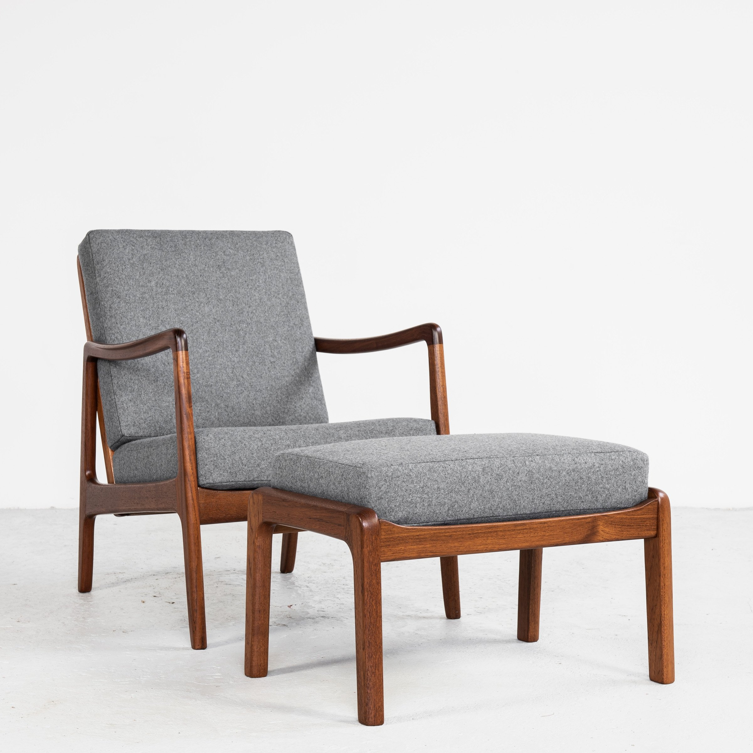 Image of: Midcentury Danish Easy Chair Ottoman In Teak By Ole Wanscher For France Son 137946