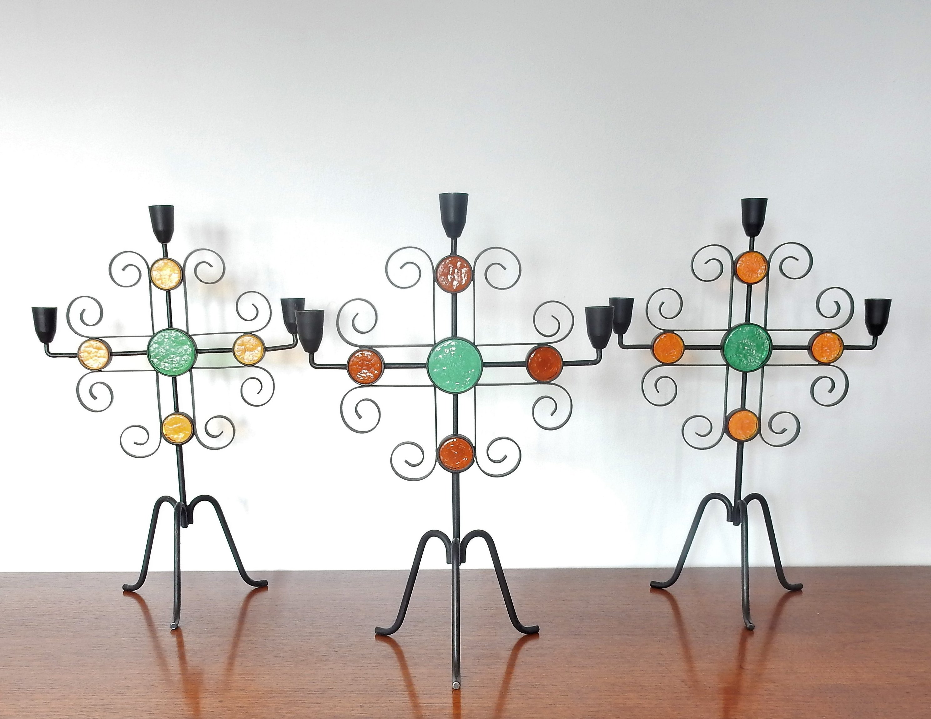 Set Of 3 Wrought Iron Glass Candelabra By Gunnar Ander For Ystad Metall Sweden 1960s 138395