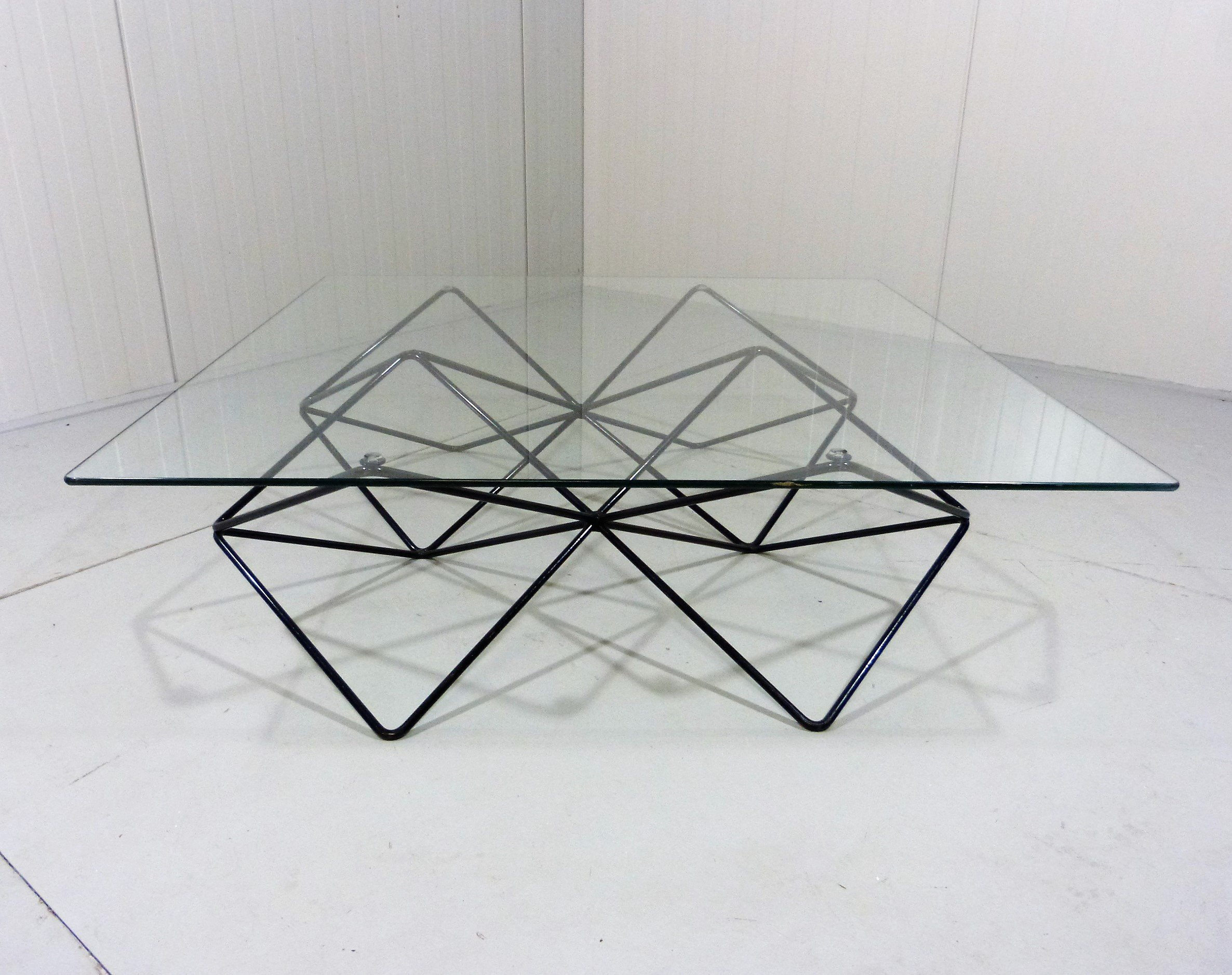 Black Steel Wire Glass Coffee Table 1980 S 138585