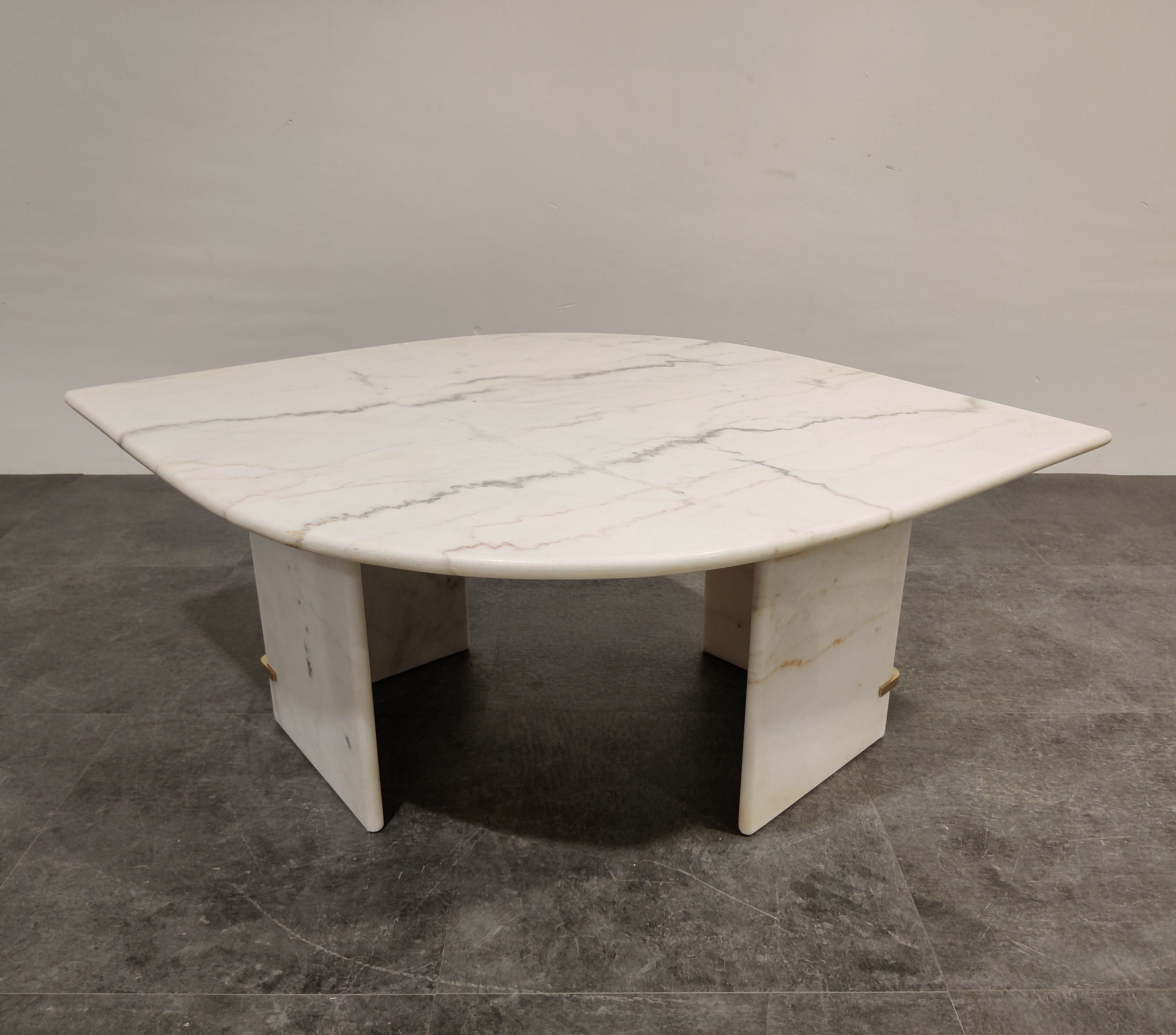 Vintage White Marble Coffee Table 1970s 138904