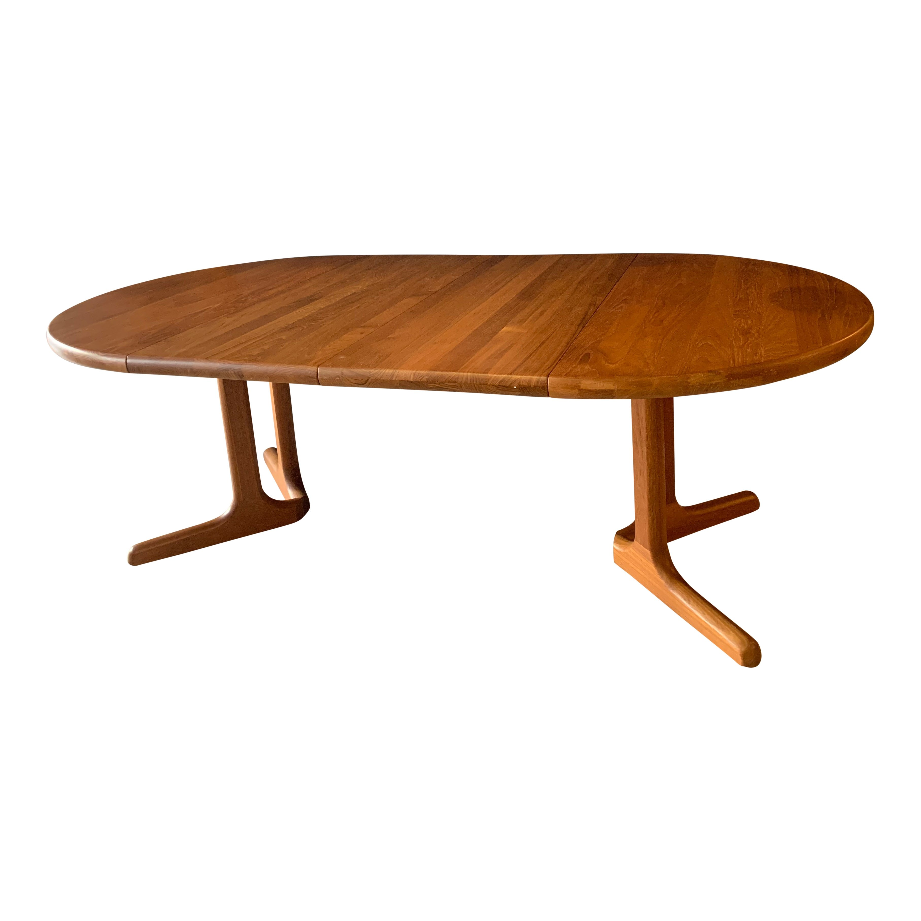 Vintage Teak Round Extendable Dining Table By Am Mobler Denmark 139684