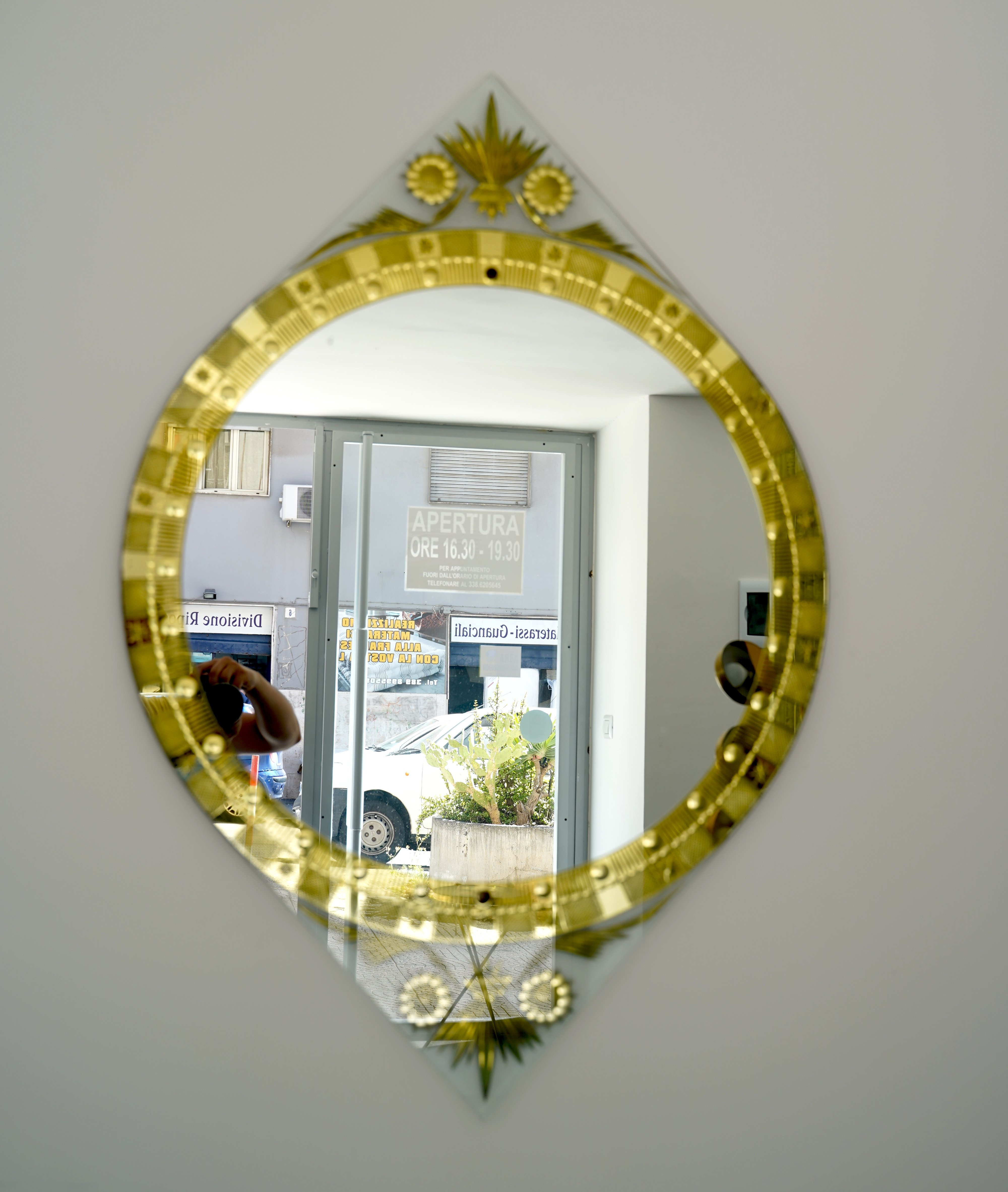 Image of: Rare Midcentury Gold Carved Mirror By Cristal Art Italy 1960s 140120