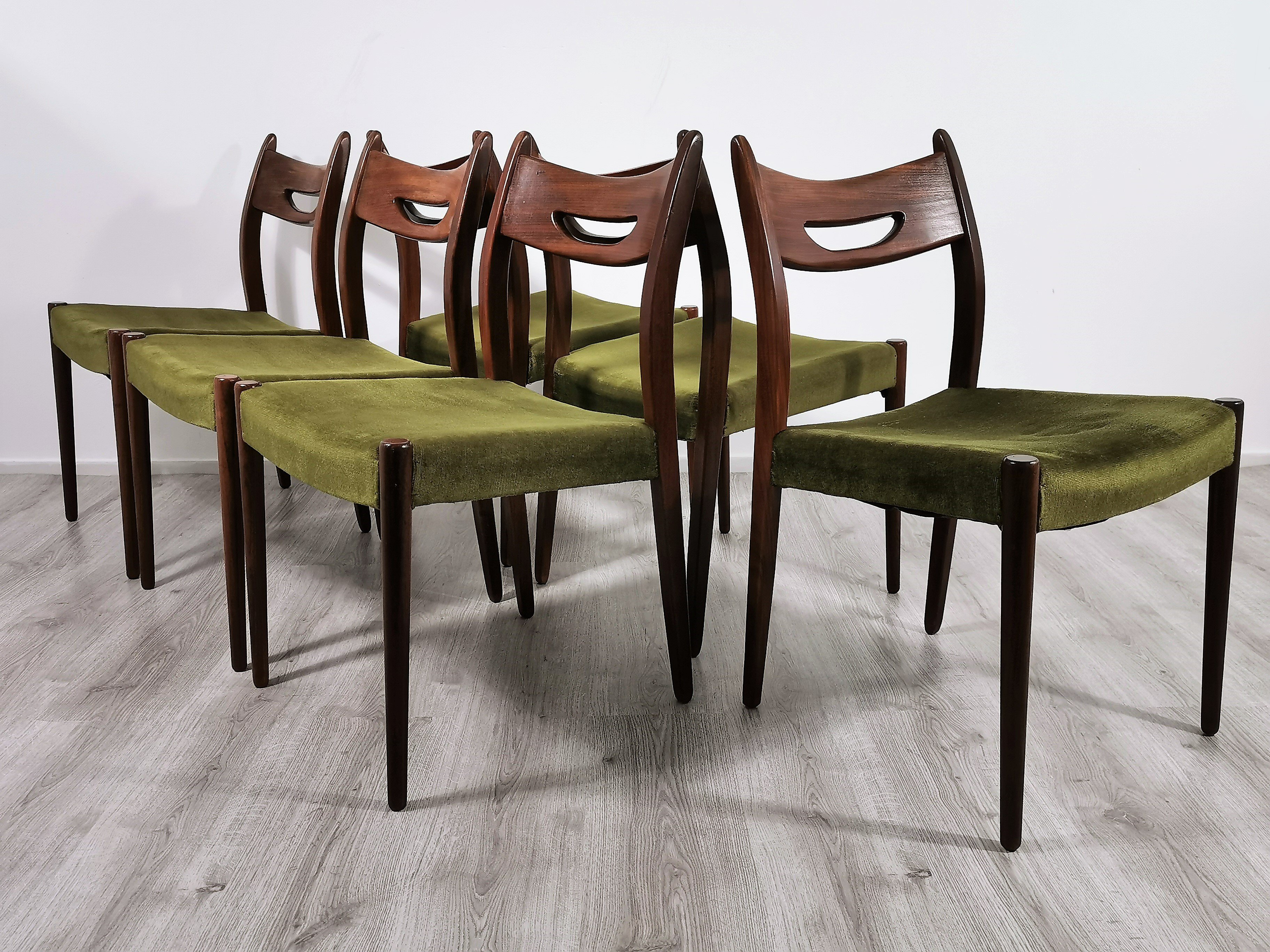 Set Of 6 Mid Century Modern Teak Dining Chairs 1960s 140700