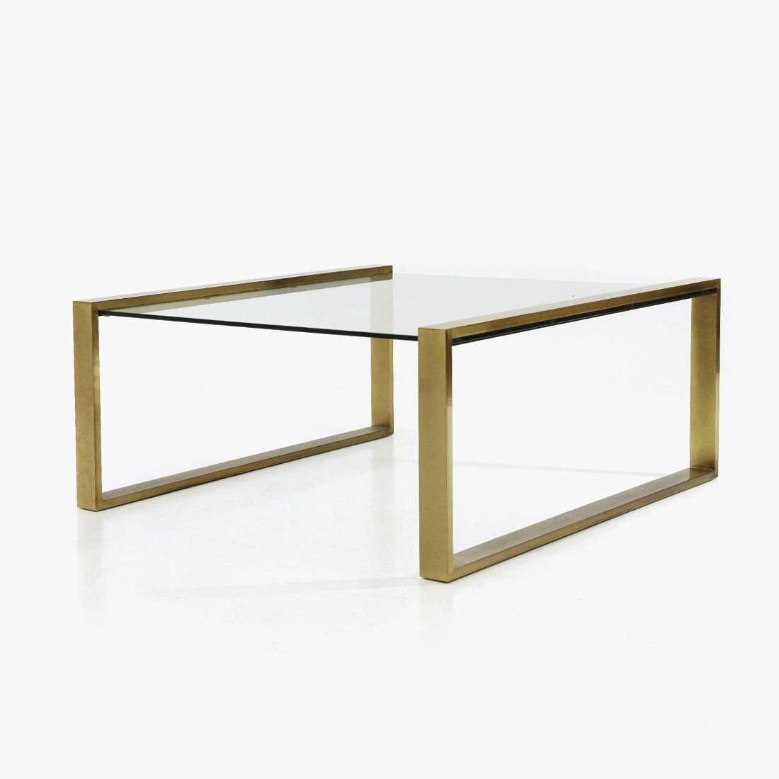 Brass Coffee Table With Rectangular Glass Top 1950s 141873