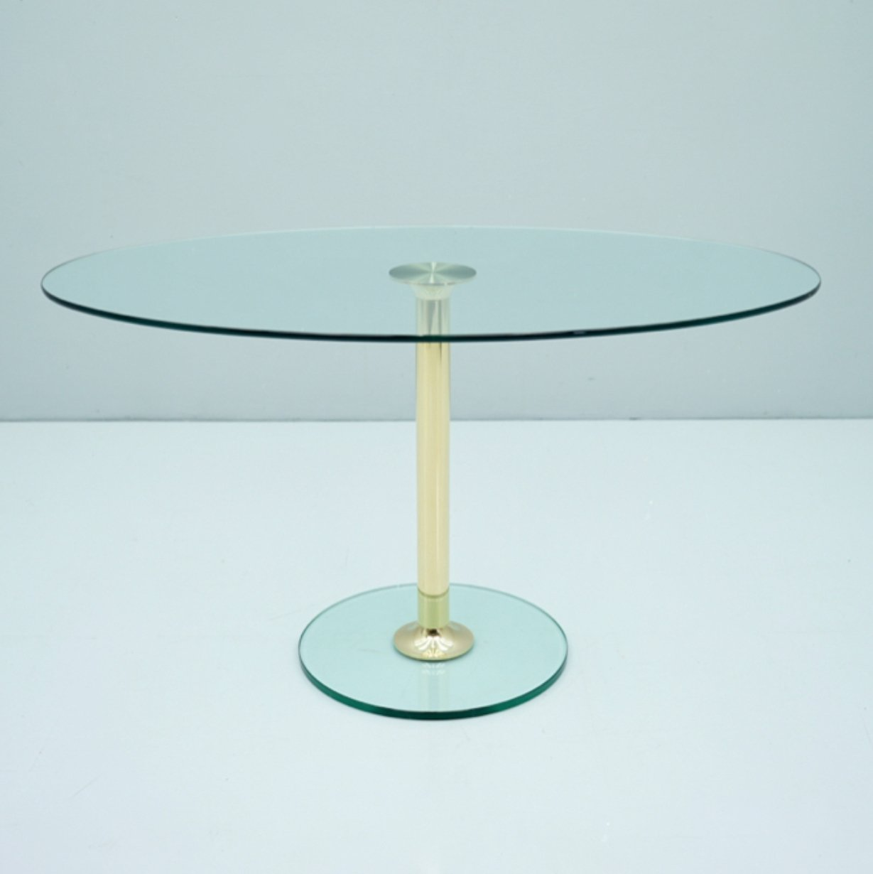 Picture of: Oval Glass Brass Dining Table By Drenert 1980s 142958