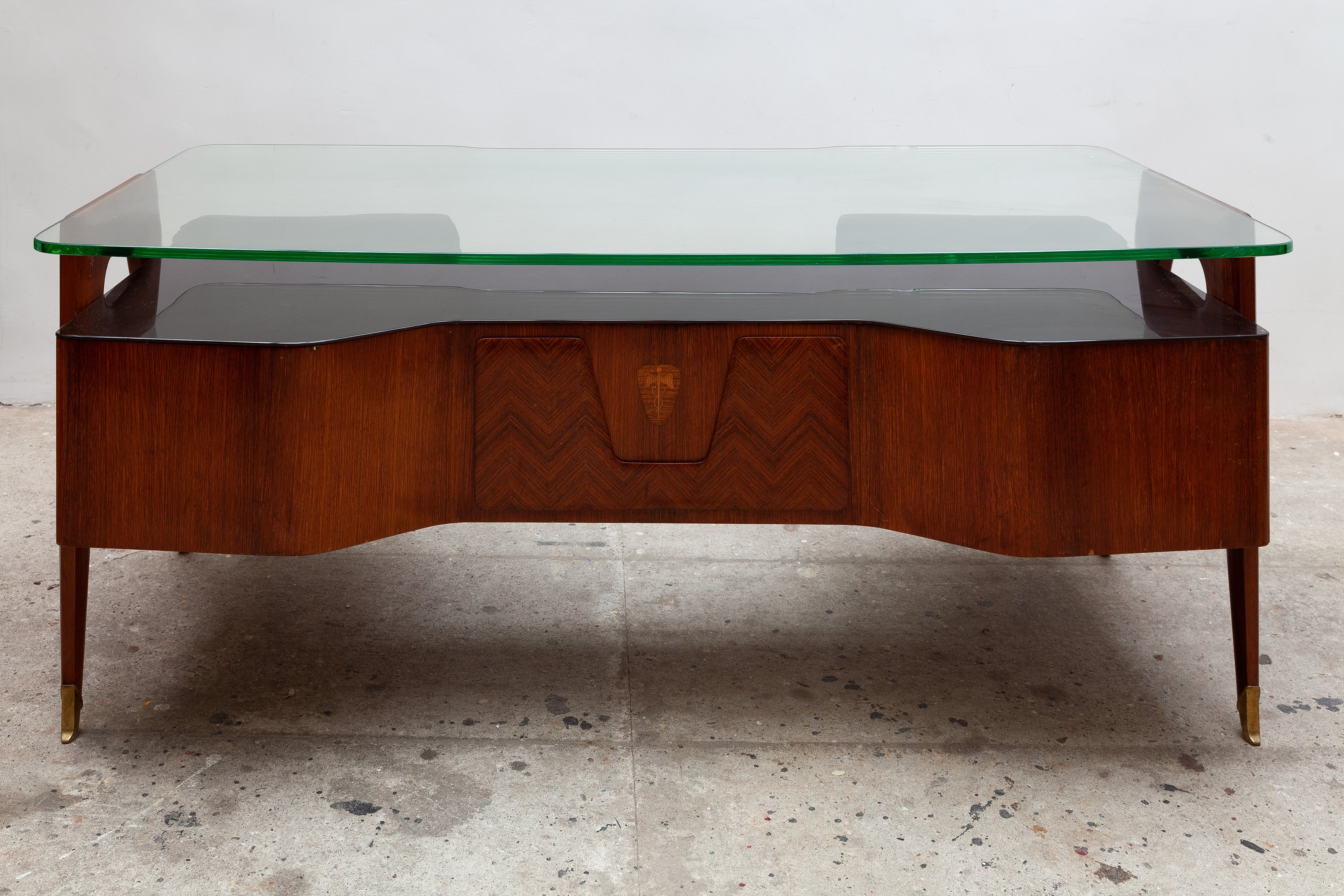 floating glass top presidential desk by vittorio dassi 1950s
