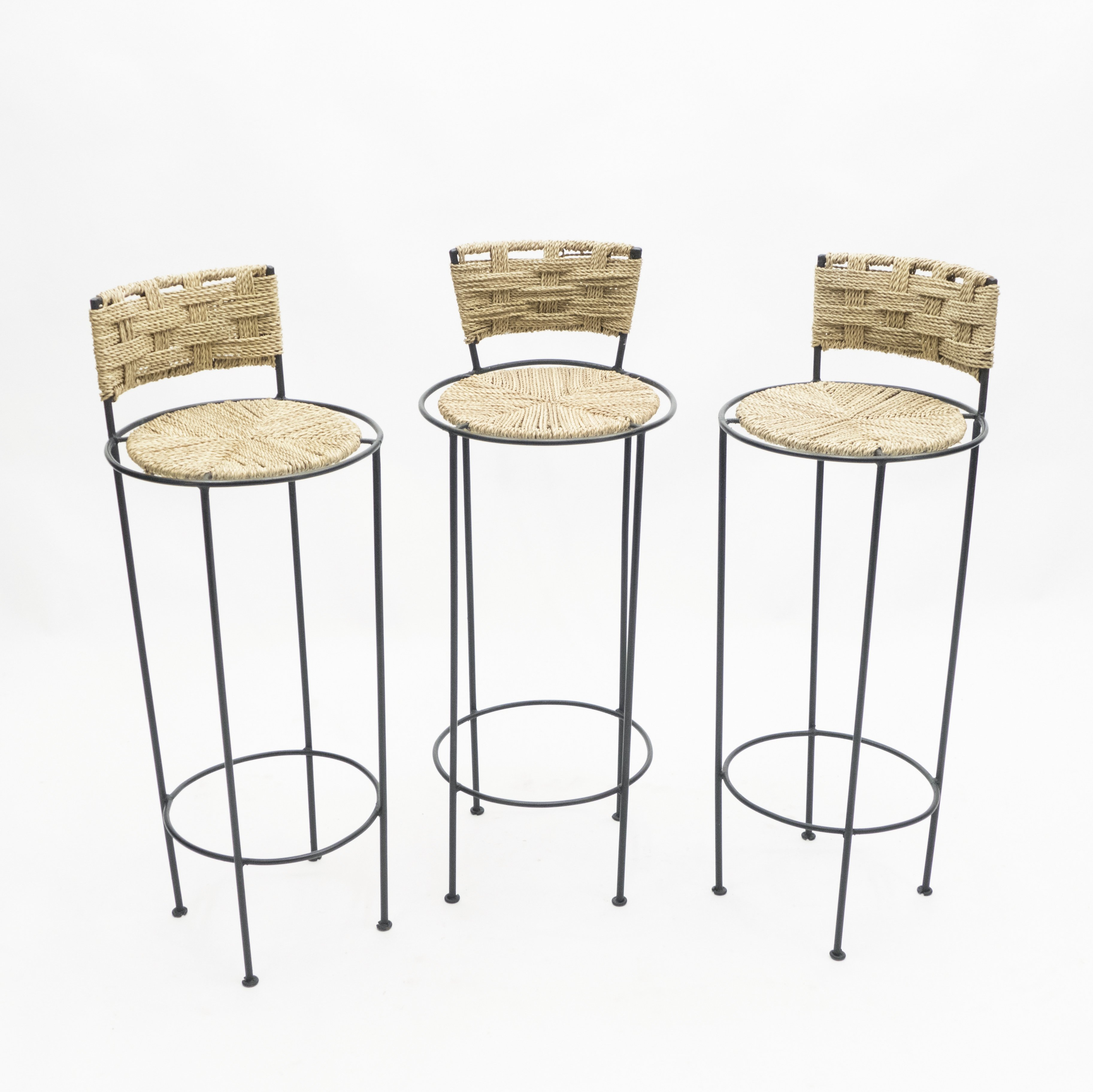 Image of: Set Of 3 French Bar Stools In Rope Metal By Adrien Audoux Frida Minet 1950s 144203