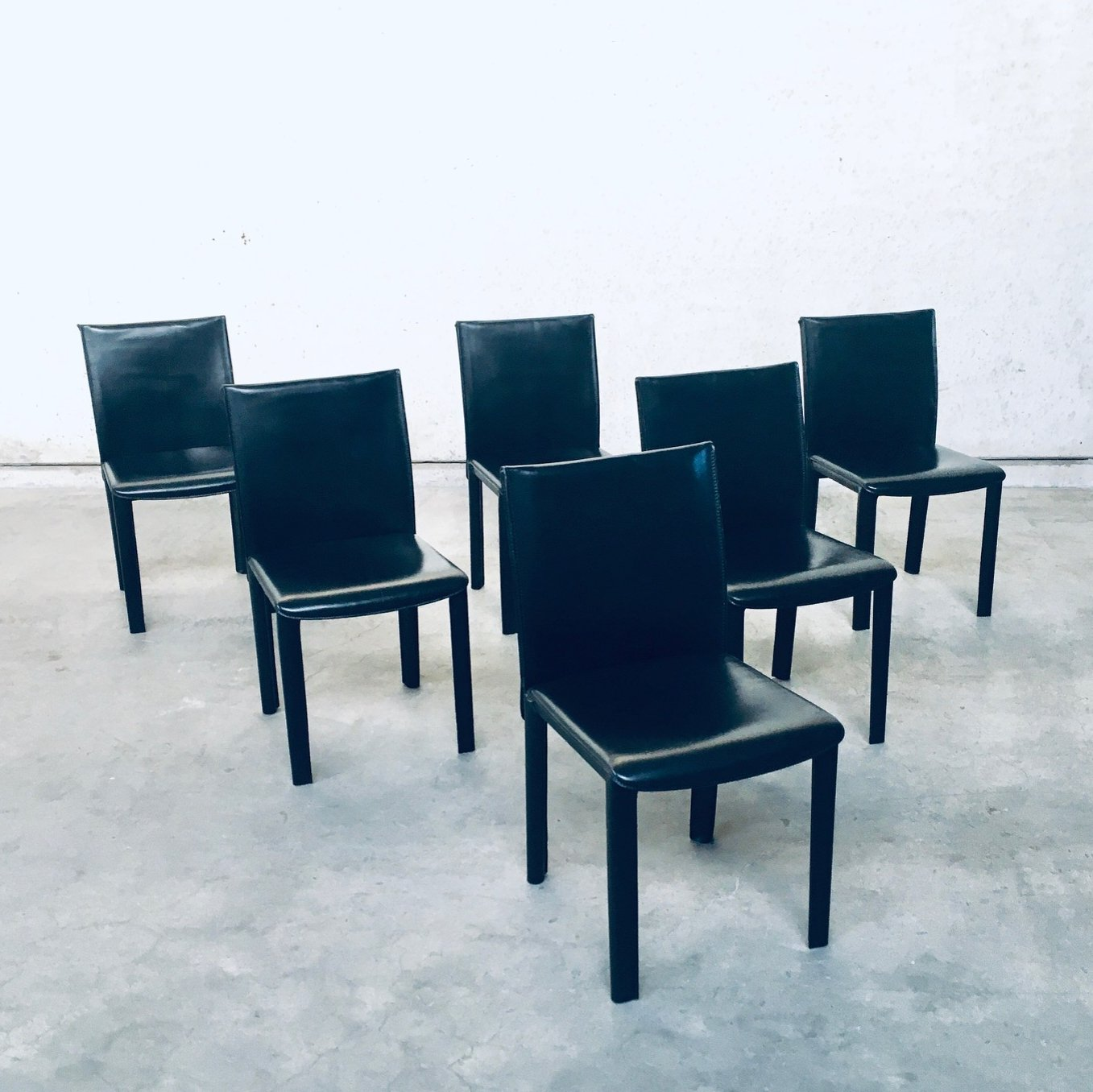 Set of 9 Black Leather Dining Chairs by Arper, Italy 9's   9