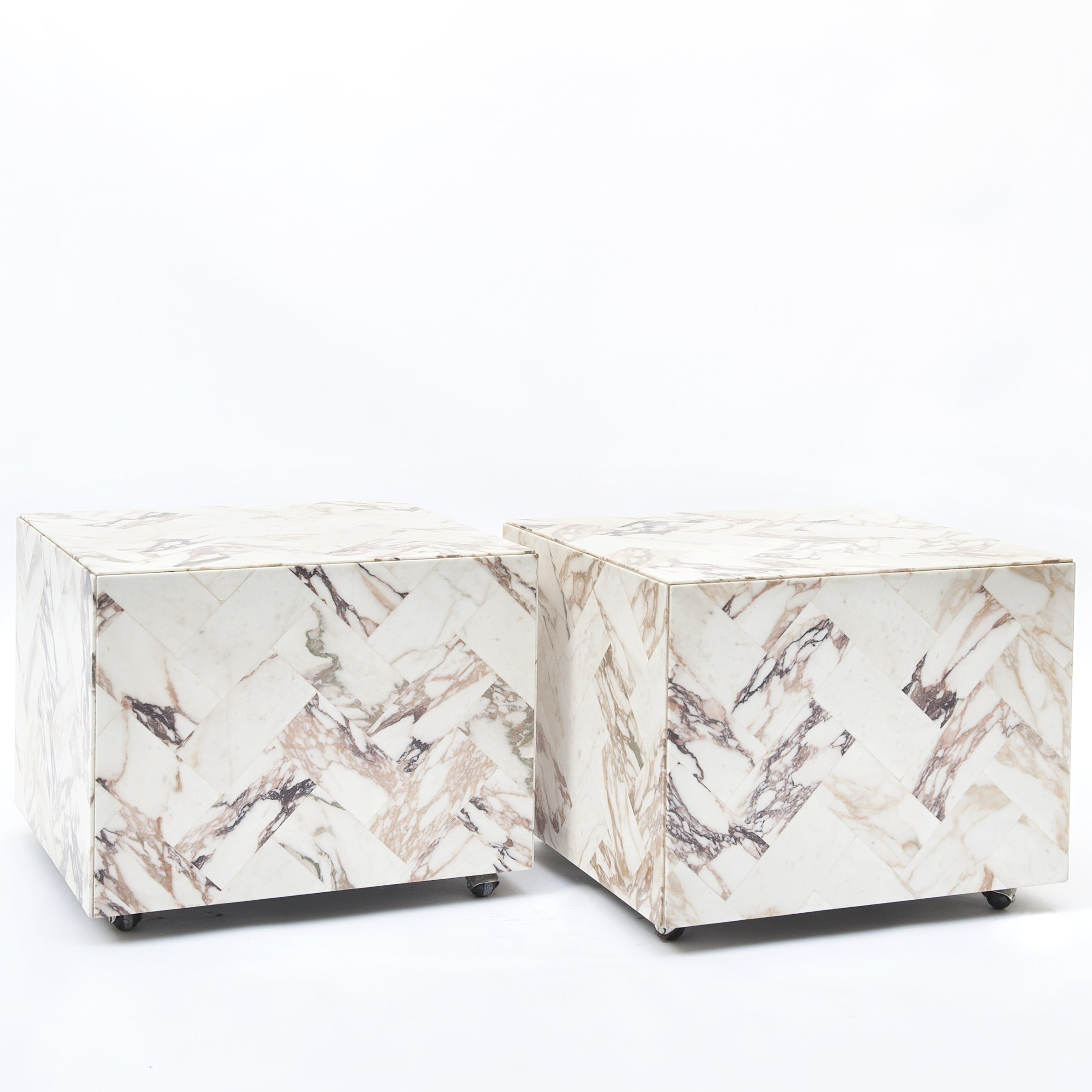 Vintage Cube Shaped Side Tables In Marble 1970s 146122