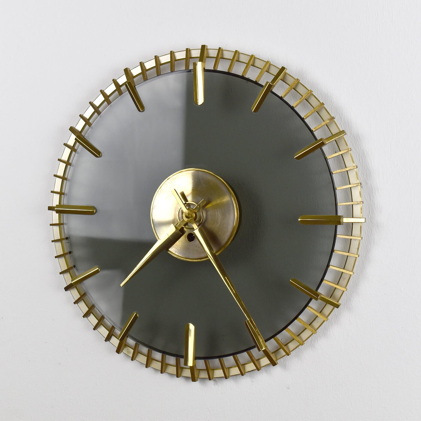 Mid Century Wall Clock Made Of Glass Brass 1950s 146868