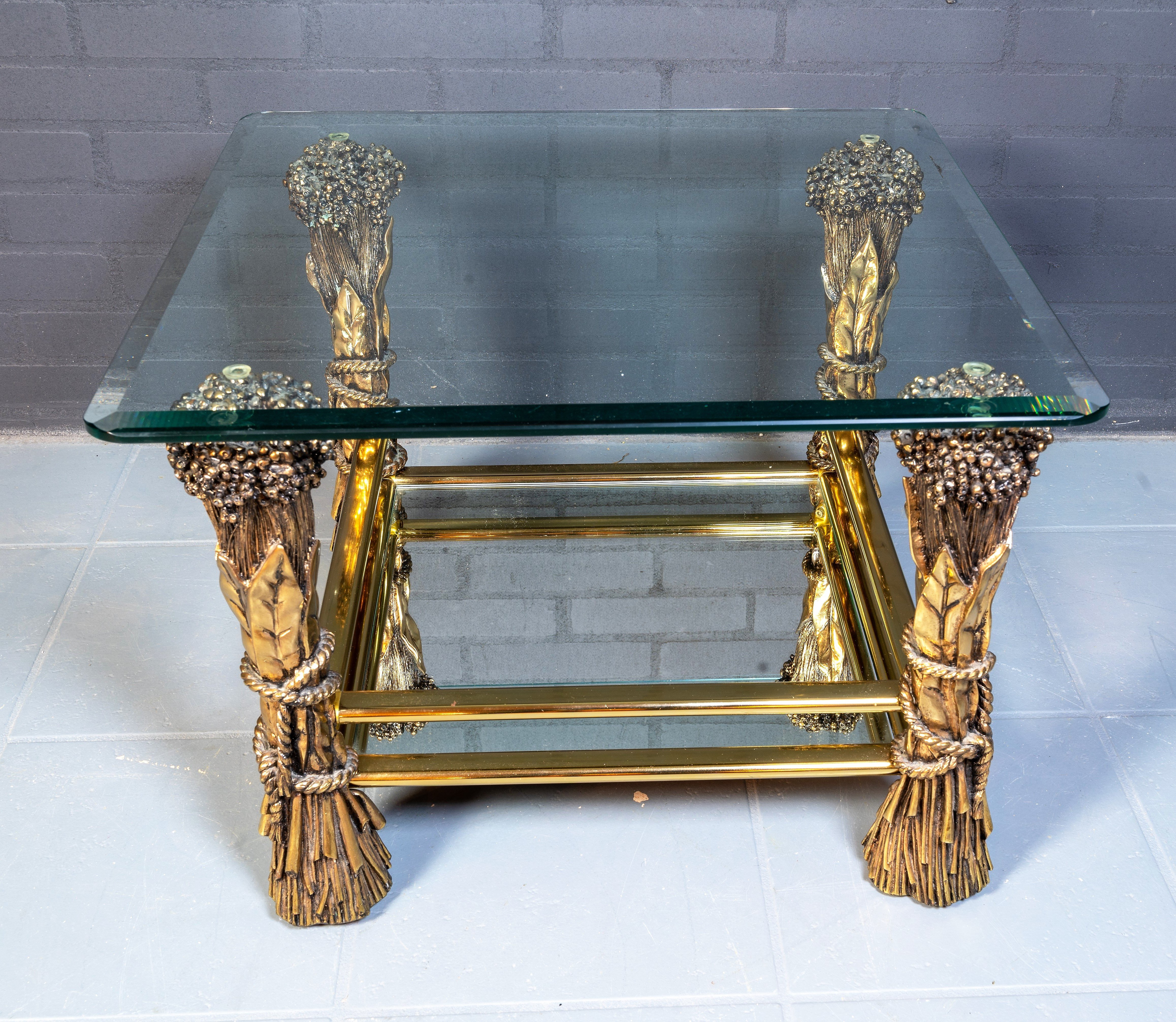 Vintage Brass Glass Coffee Table 1960s 149695