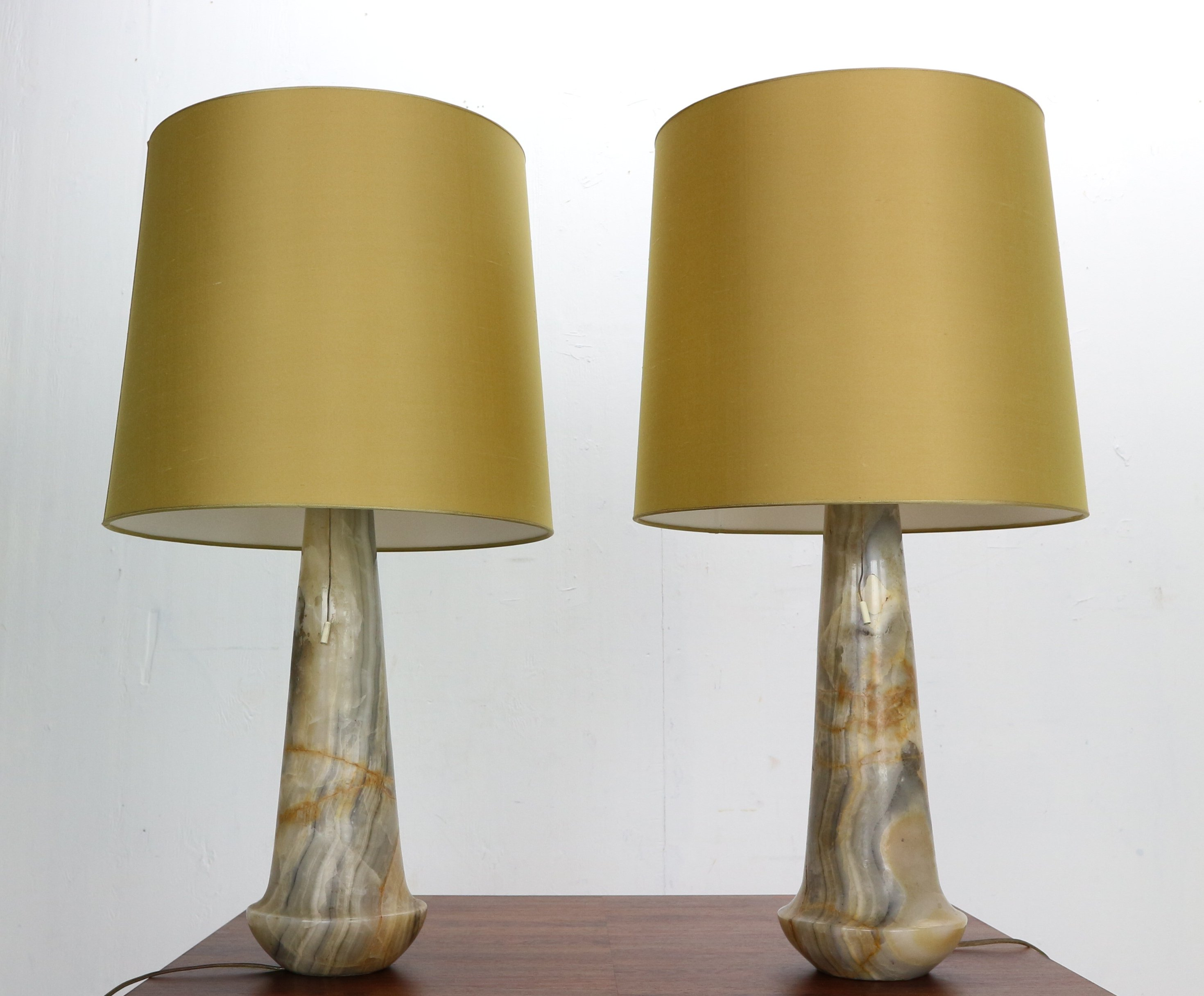 Set Of 2 Mid Century Modern Marble Table Nightstand Lamps Italy 1960s 150931