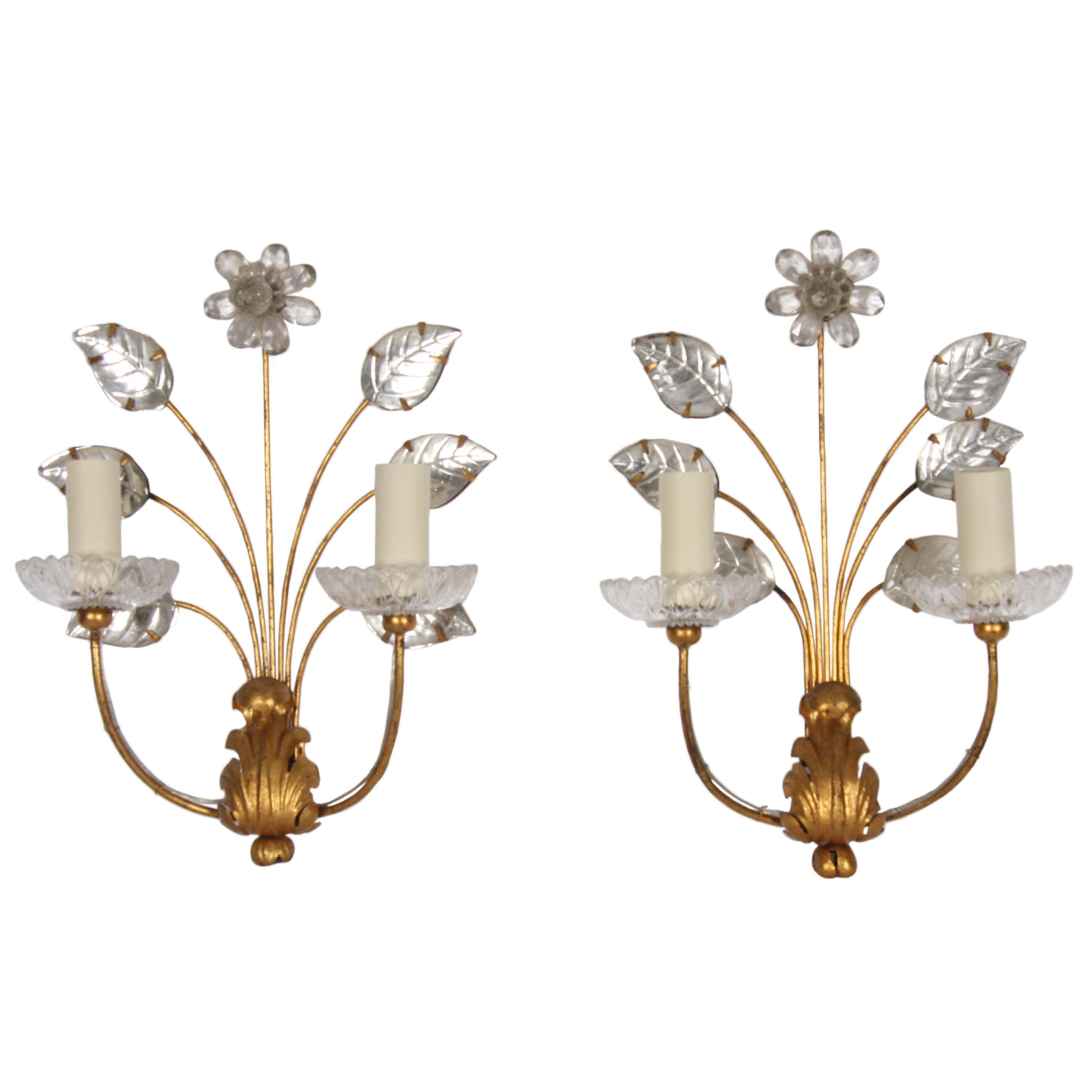 Pair Of Wall Sconces With Flowers By Maison Bagues 1950s 151249