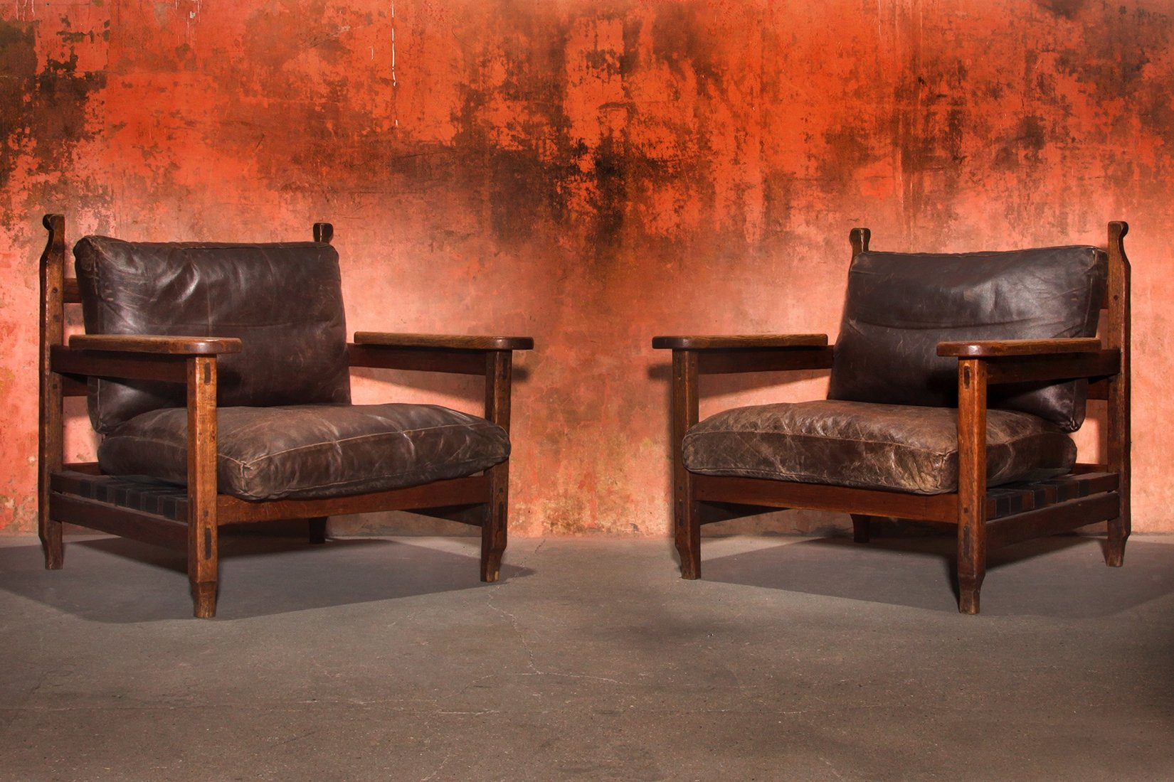 Brutalist Vintage Oak Wood Lounge Arm, Lounge Chairs With Wooden Arms