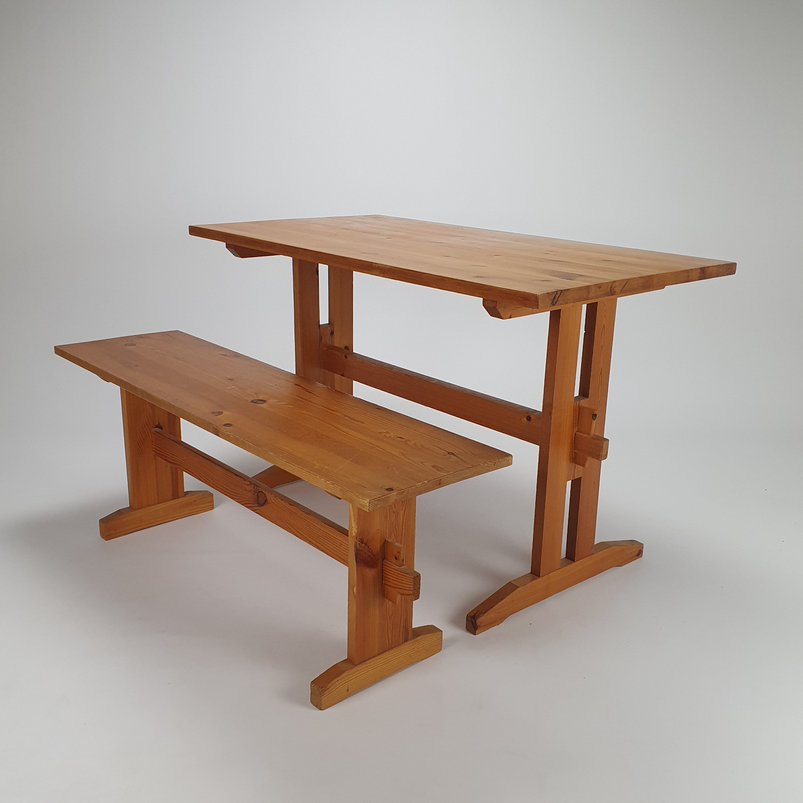 Mid Century Pine Wood Bench & Dining Table, 9s   9