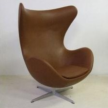Brown leather Egg chair by Arne Jacobsen