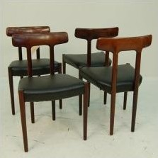 Set of 4 dining chairs by Ole Wanscher for AJ Iversen, 1950s