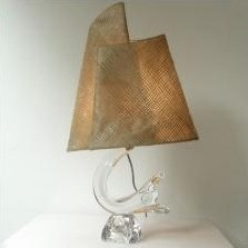 Daum France crystal table light with original shade, 1950s