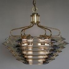 Very heavy ceiling lamp in chrome, gilt metal & glass, 1980s