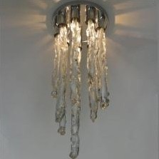 Impressive glass ceiling light with white & transparant glass icicles, 1970s