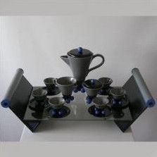 Mocca service for six by Pietro d'Amato for Costantini, Italy 1980's