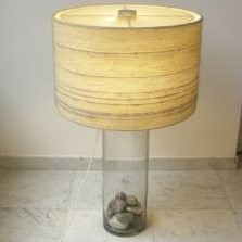 Large glass table lamp with natural rocks, 1970s