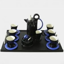Memphis style coffee service for 6 by Marco Zanini for Bitossi, 1980's