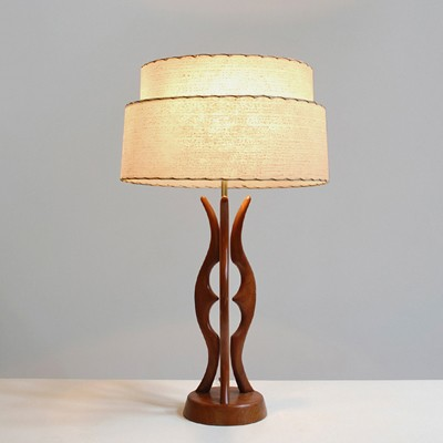 Large 1960s USA table lamp with teak organic shaped base