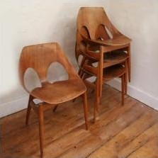 Set of 4 Jason dining chairs by Carl Jacobs for Kandya, 1950s